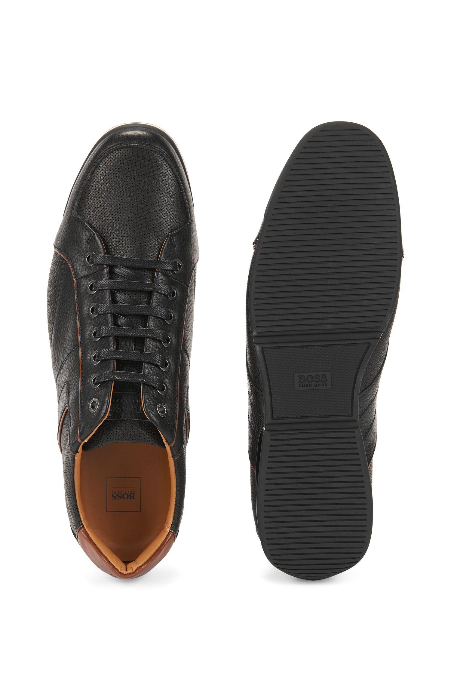 Baskets basses en cuir foulonné avec détails contrastés, Noir