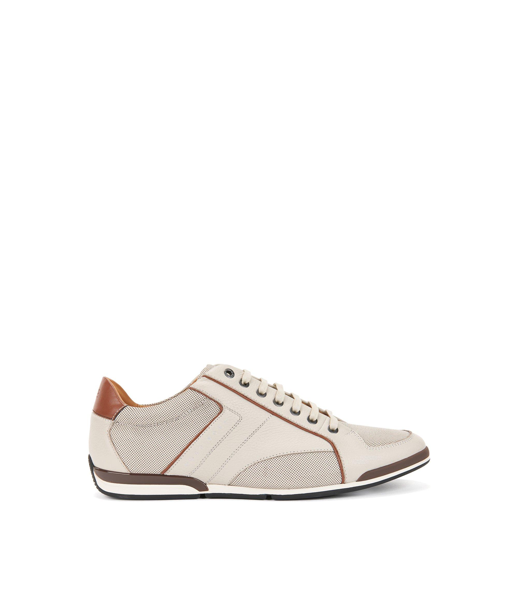 Lowtop Sneakers aus gegerbtem Leder mit Kontrast-Details, Natur