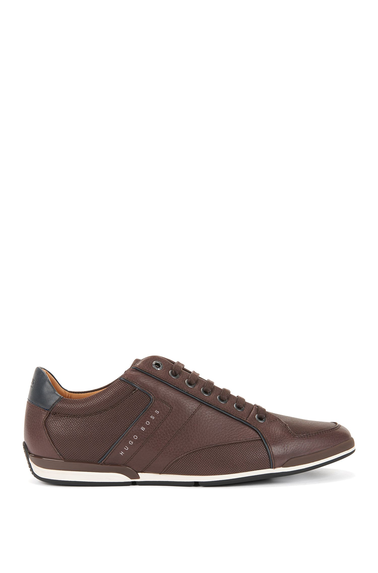 Low-top trainers in tumbled leather with contrast detail, Dark Brown