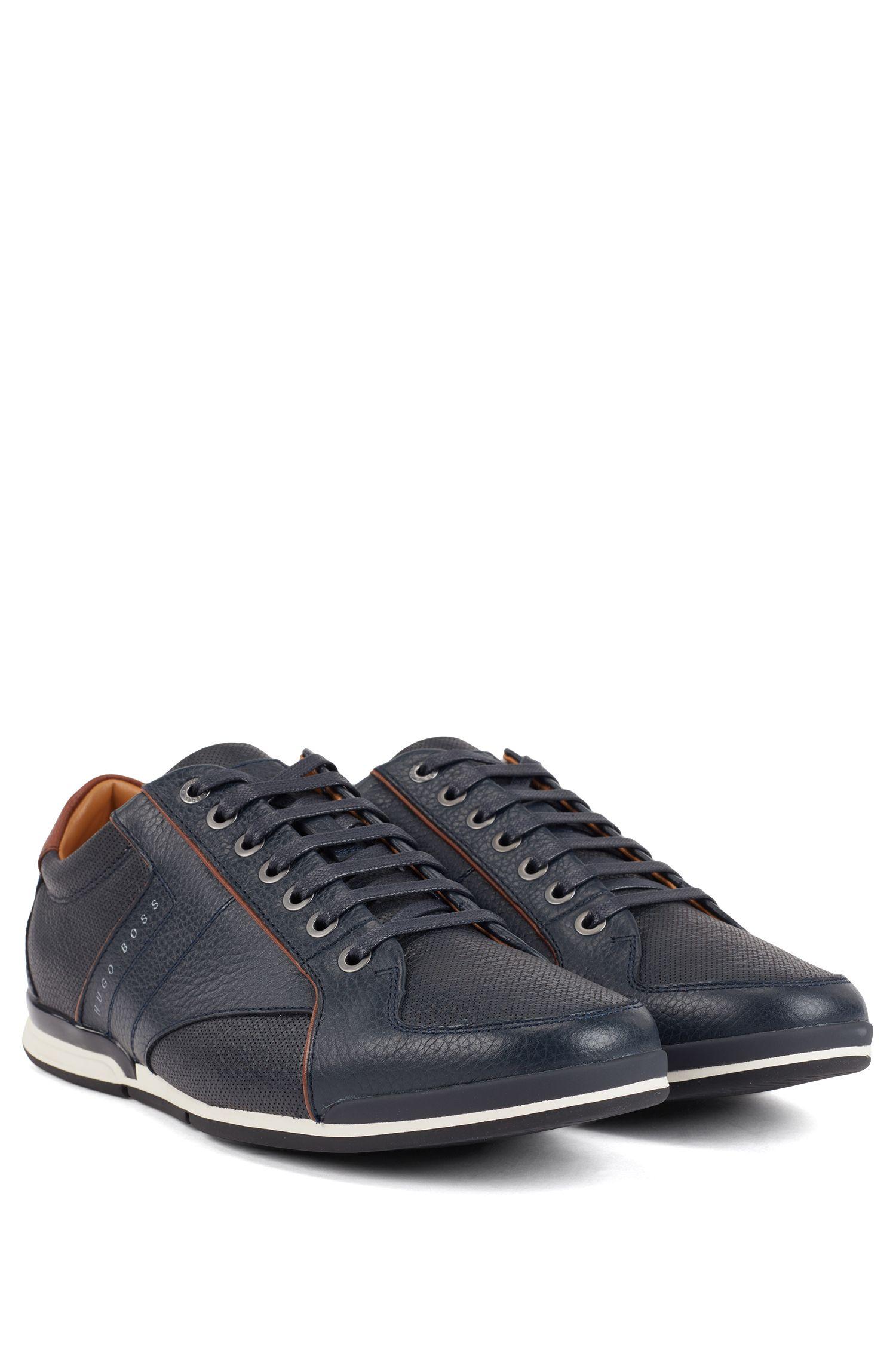 Lowtop Sneakers aus gegerbtem Leder mit Kontrast-Details, Dunkelblau