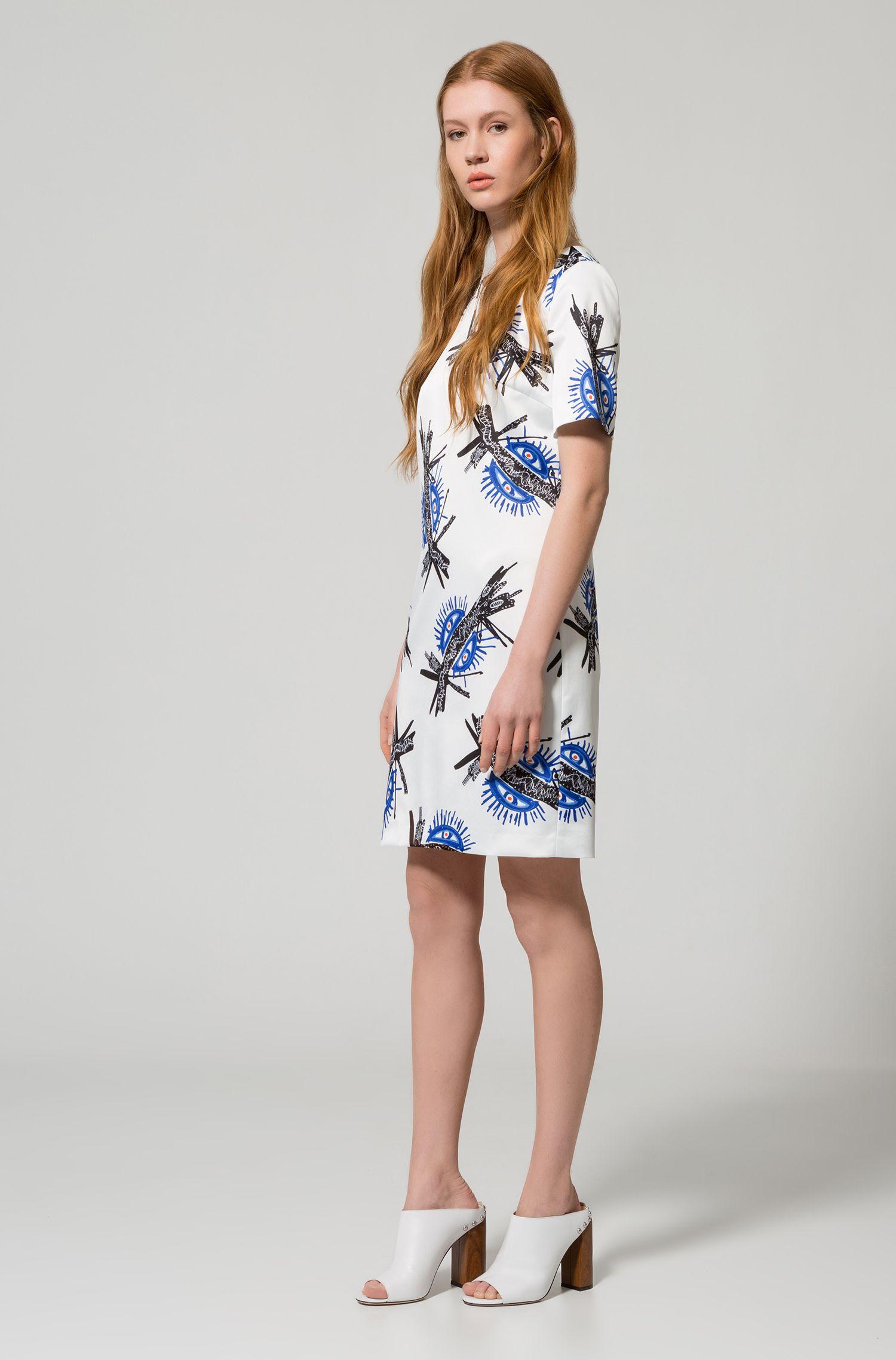 Bedrucktes Kurzarm-Kleid