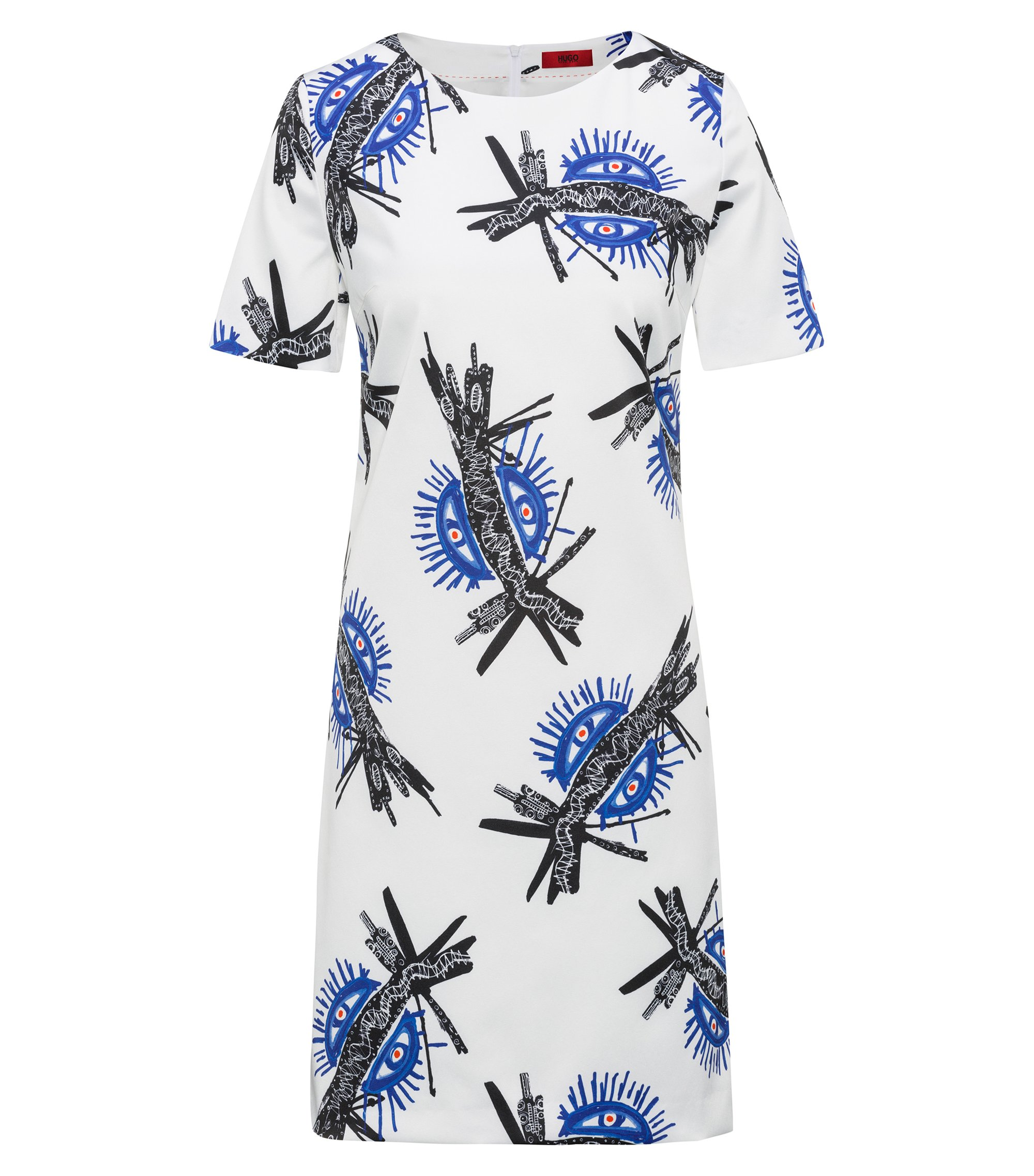 Short-sleeved dress with all-over print, Patterned