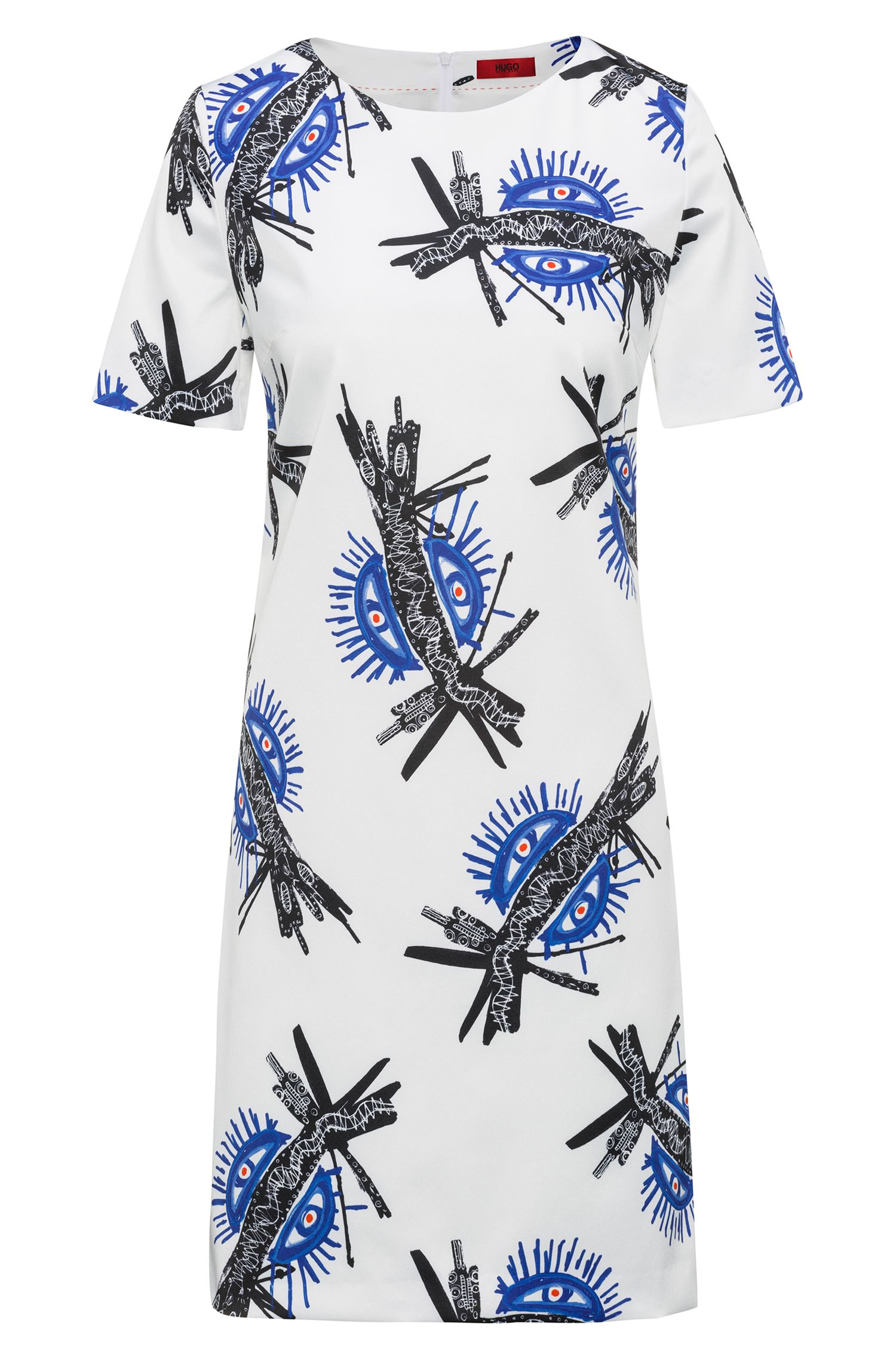 Short-sleeved dress with all-over print