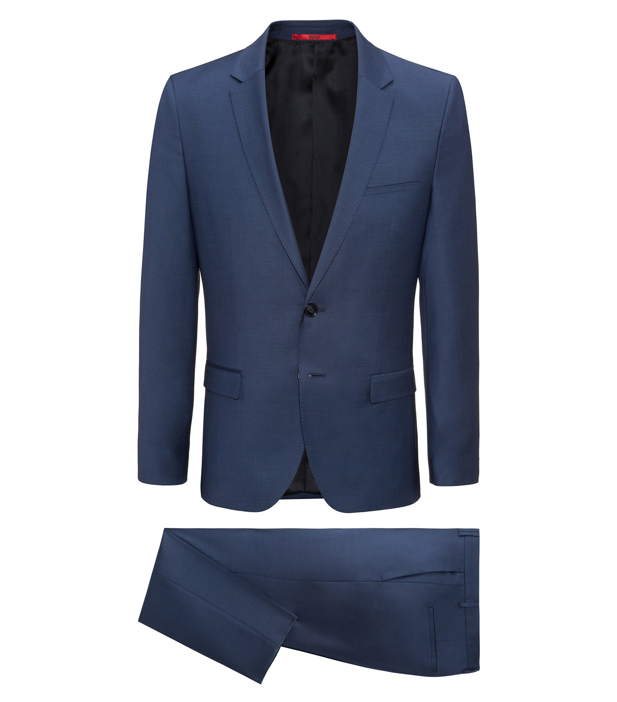 Extra-slim-fit suit in patterned virgin wool, Dunkelblau
