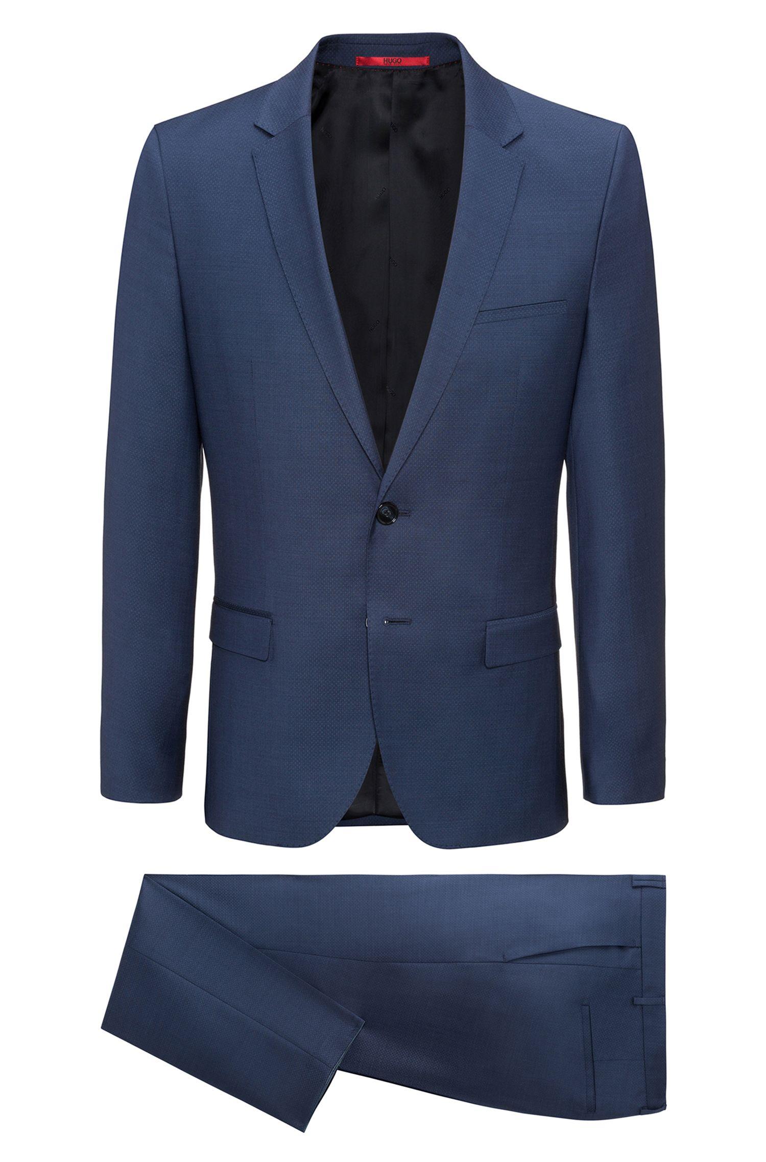 Extra-slim-fit suit in patterned virgin wool