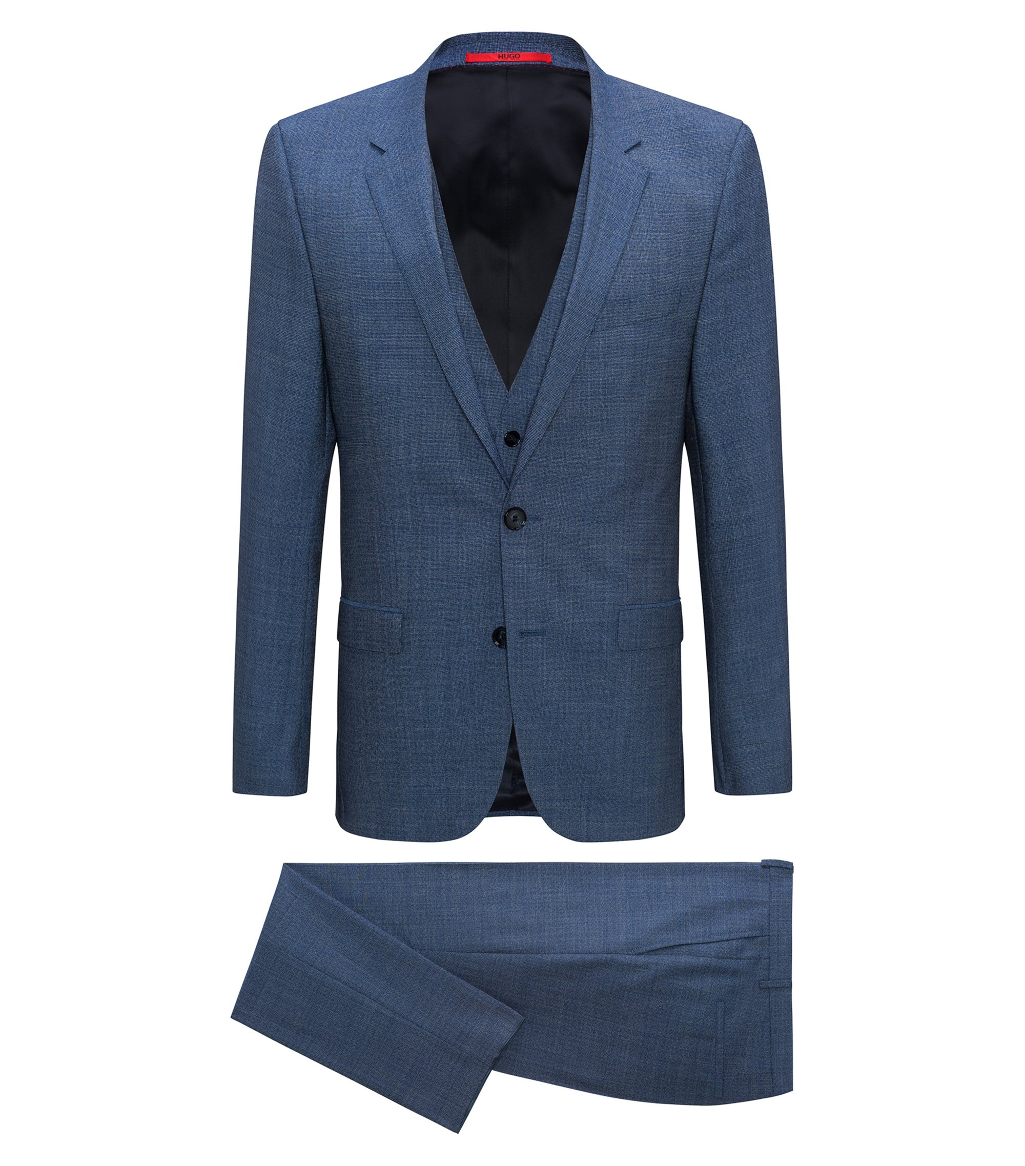 Extra-slim-fit three-piece suit in tropical virgin wool, Blau