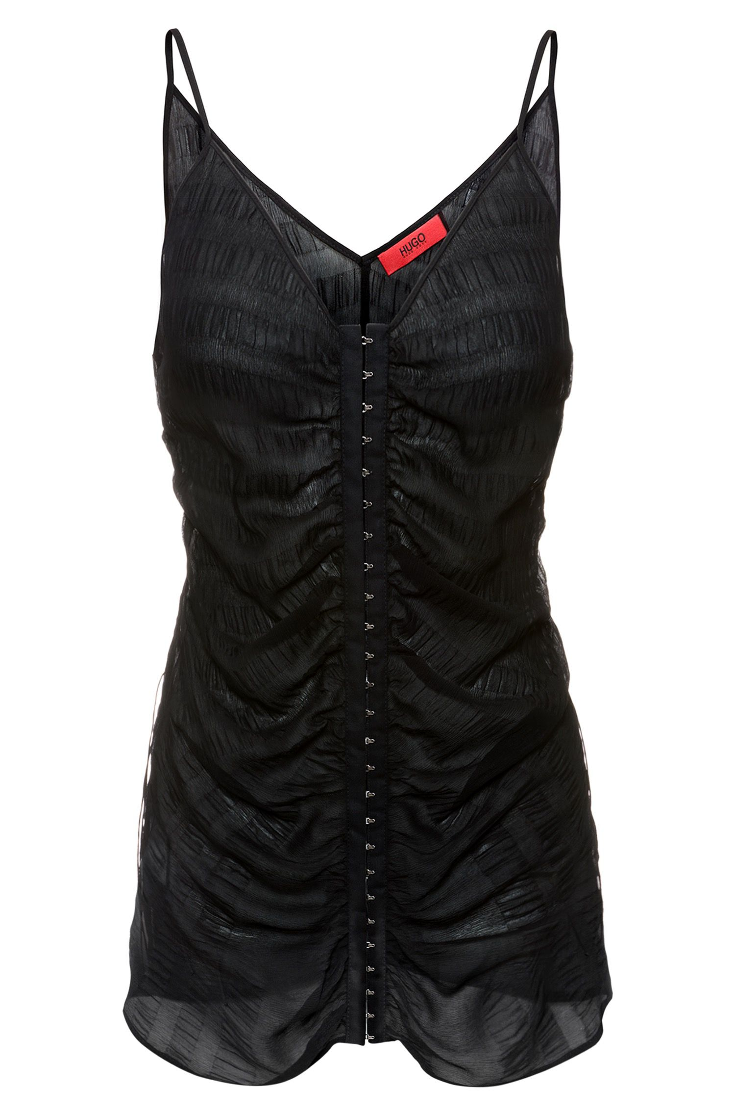 Sleeveless silk top with hook-and-eye gathered front