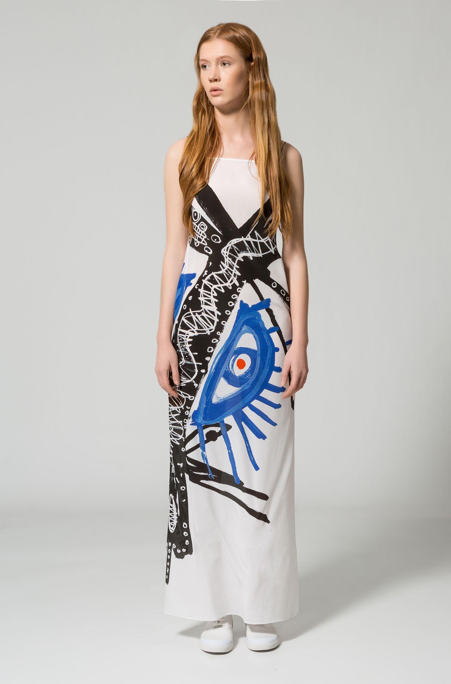 Robe extralongue avec imprimé peint à la main