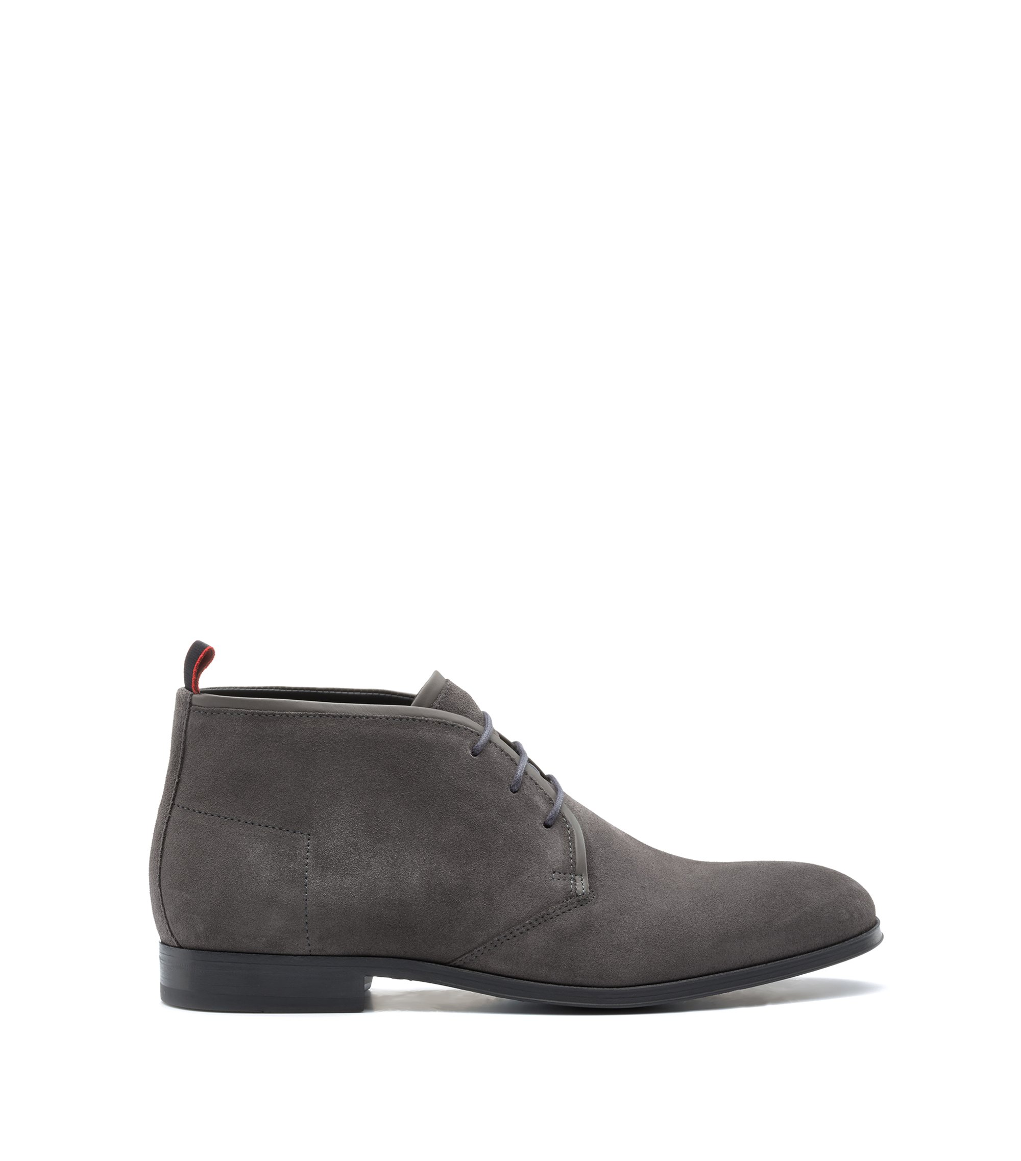 Desert boots in Italian calf suede with foam insole, Dark Grey