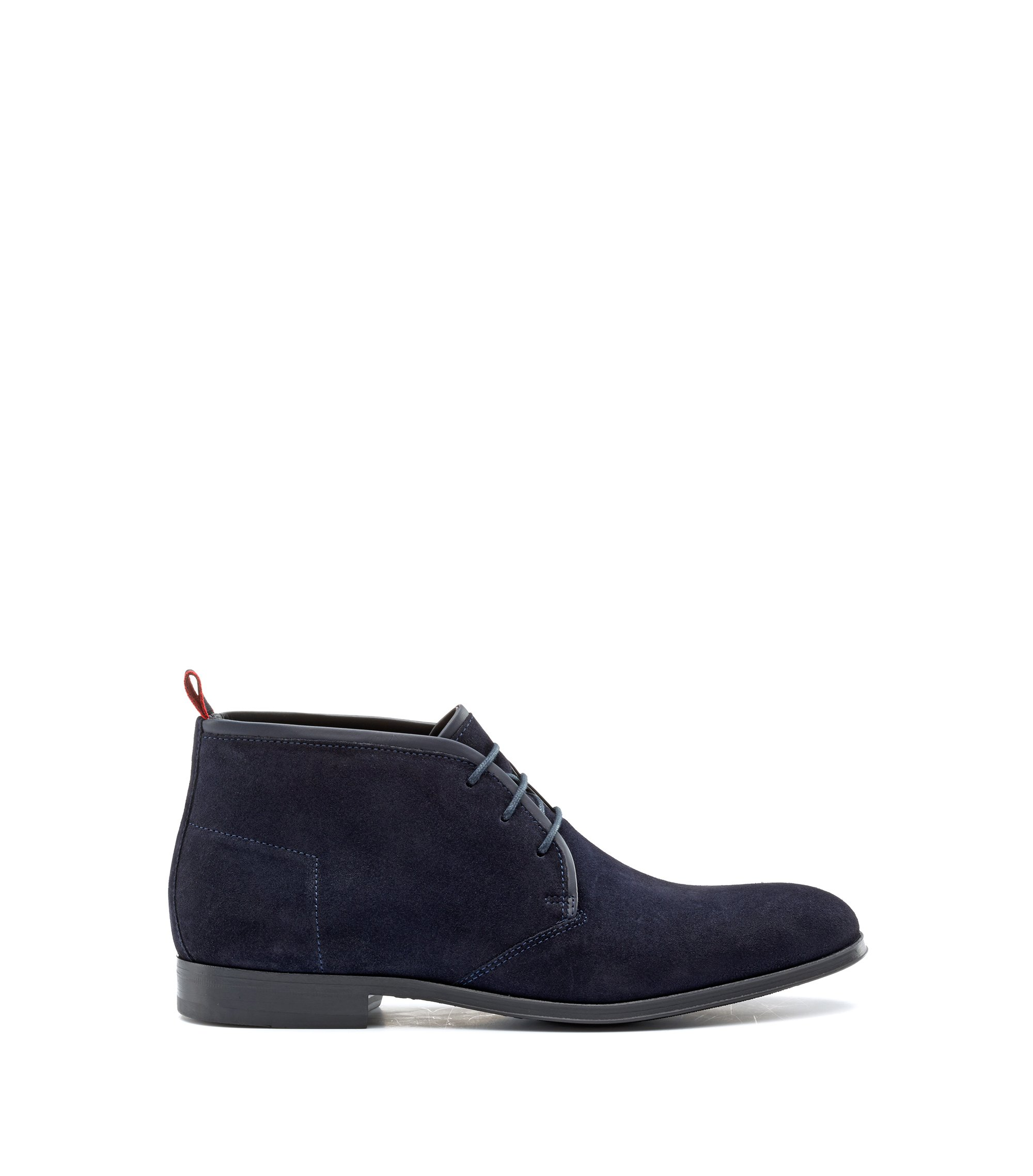 Desert boots in Italian calf suede with foam insole, Dark Blue