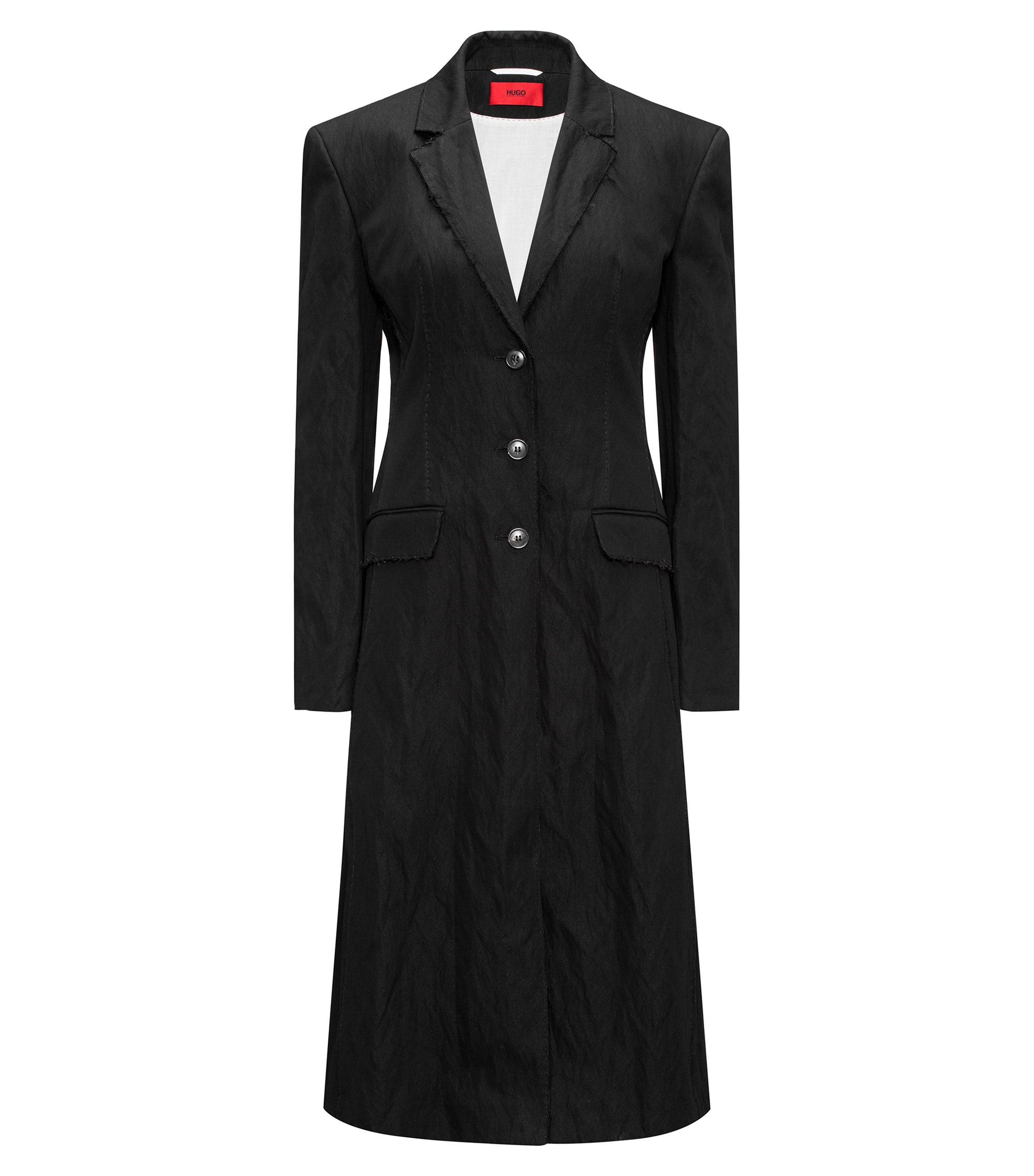 Long length oversize-fit coat with raw-edge details, Black