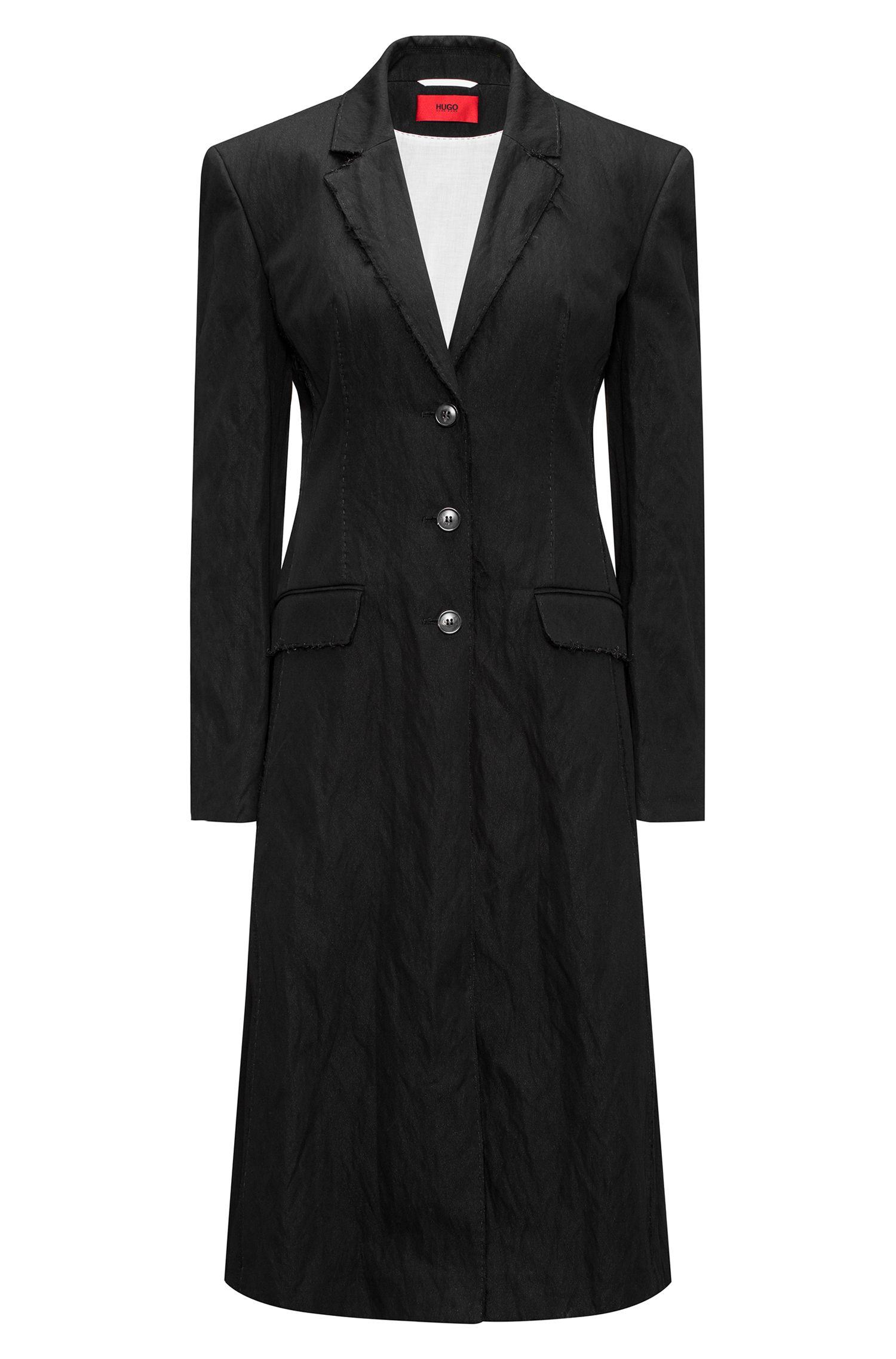 Langer Oversized Mantel aus Baumwoll-Mix mit offenen Kanten