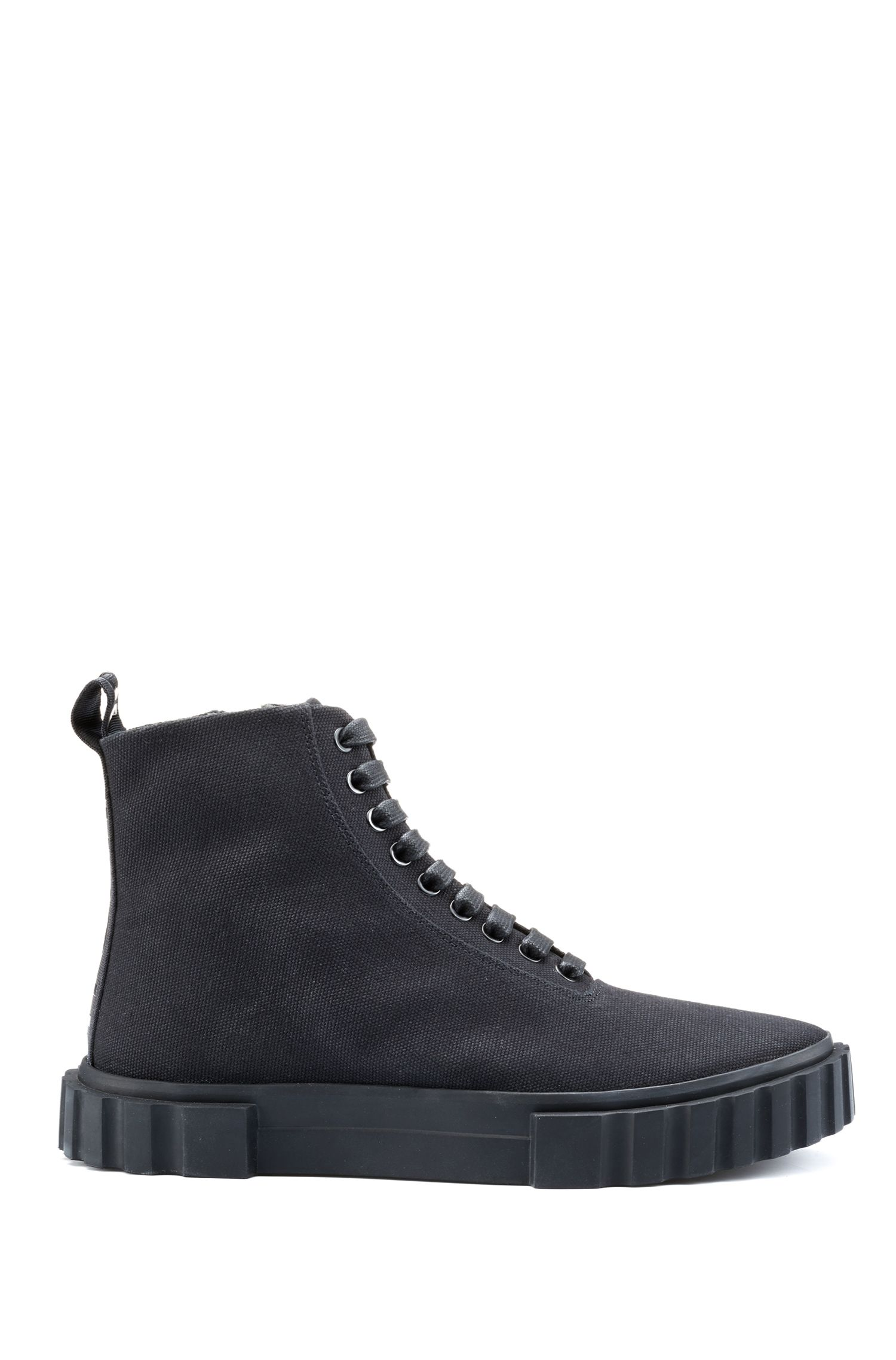High-top trainers in cotton canvas, Black