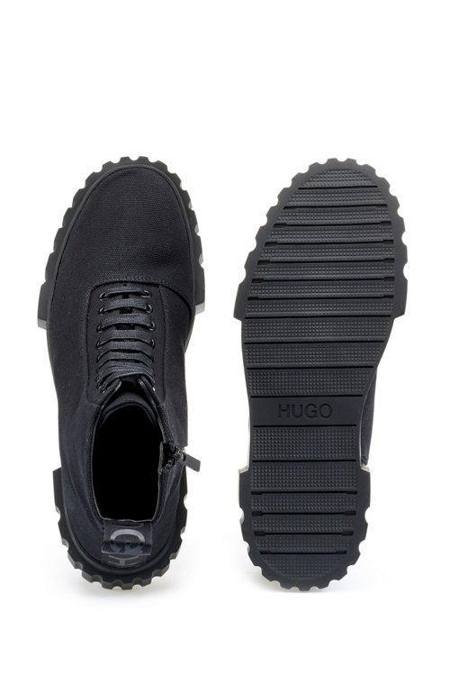 Hugo Boss - High-top trainers in cotton canvas - 4