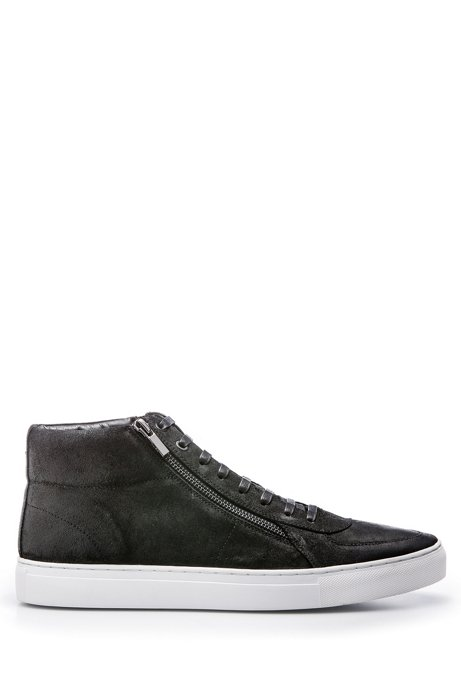 Waxed-suede trainers with double-zip detail HUGO BOSS M9tmZWHyQj