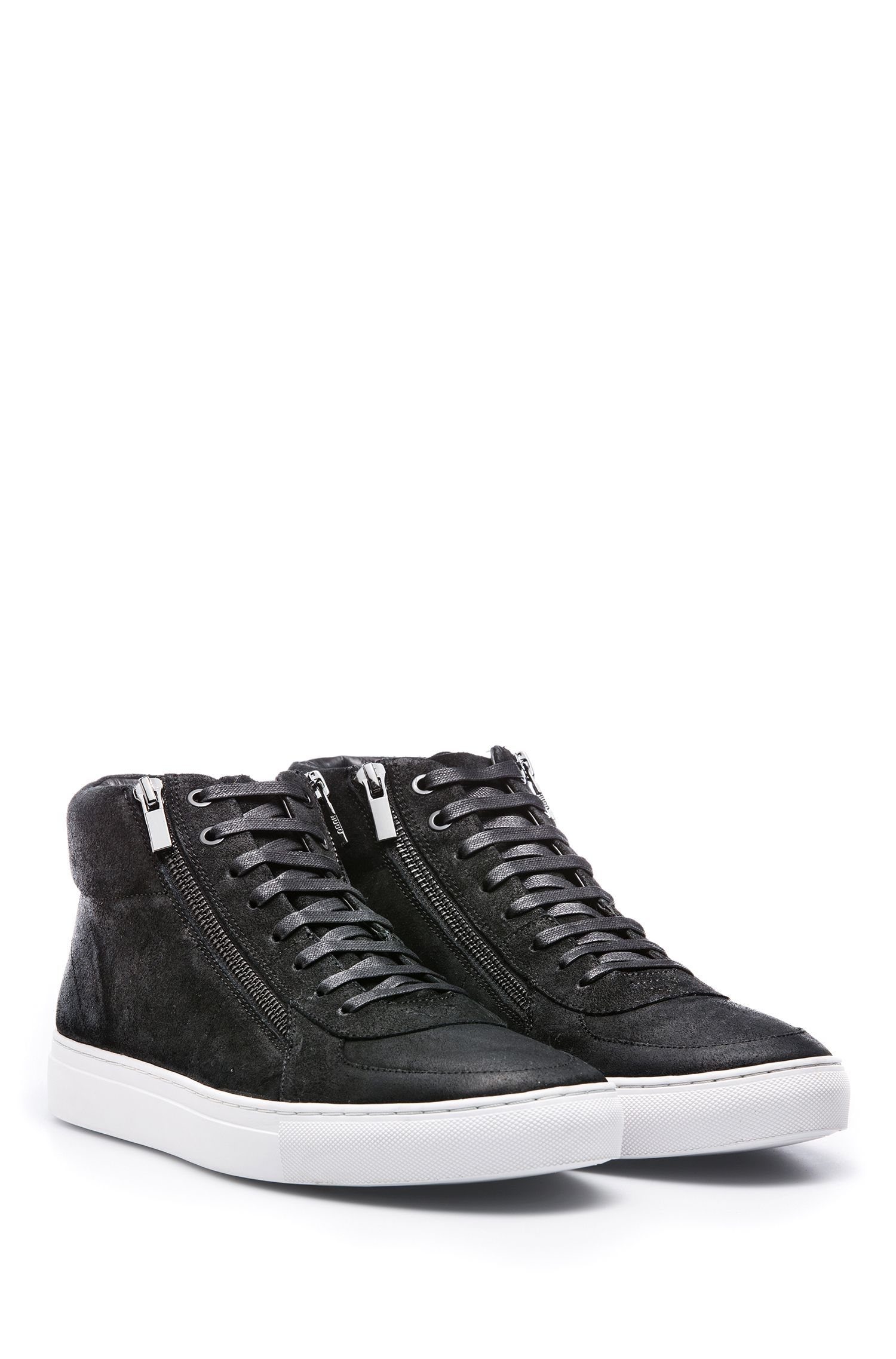 High-top trainers in waxed suede with double zip, Black