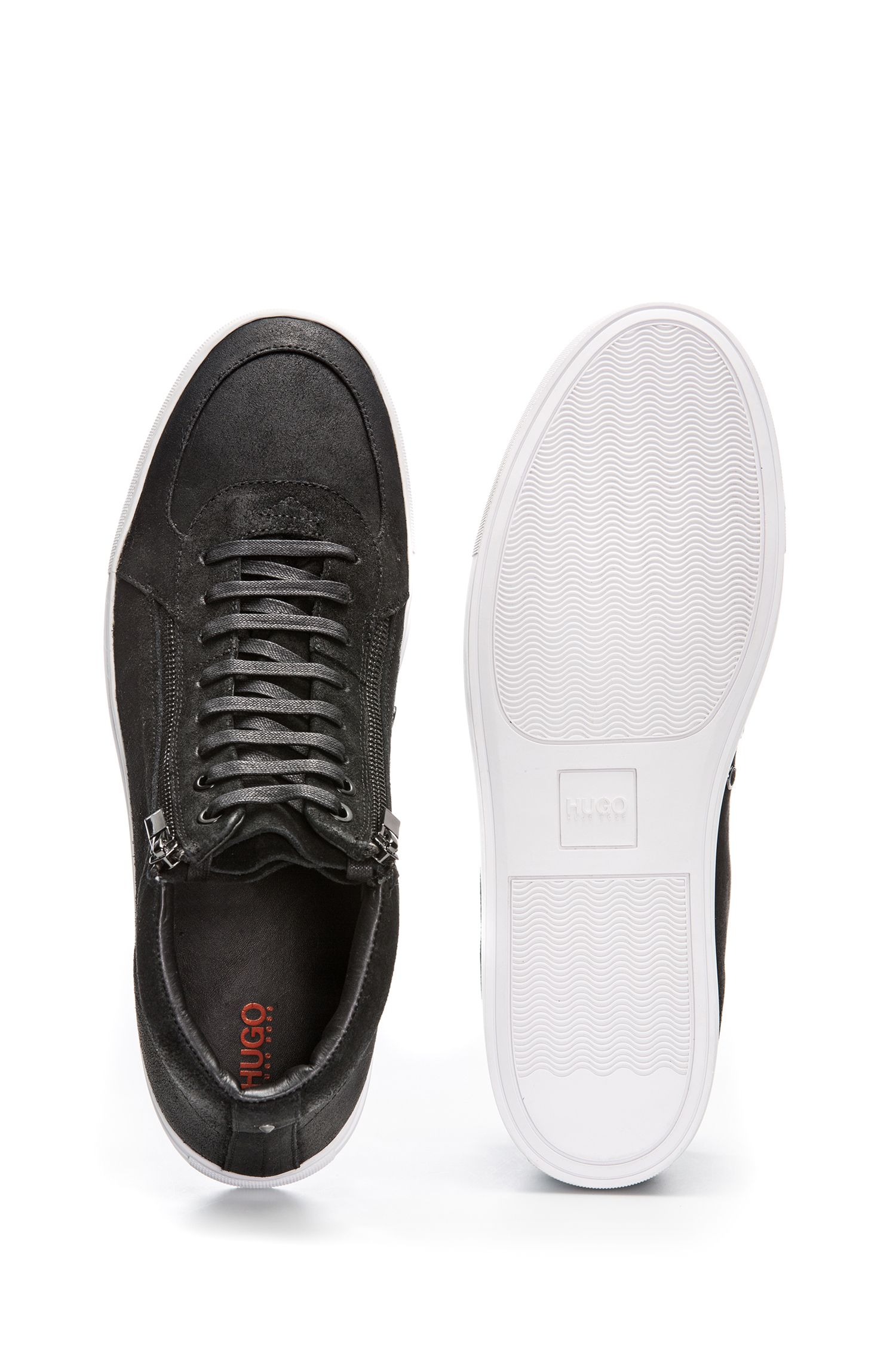 Sneakers high-top in pelle scamosciata cerata con doppia zip, Nero