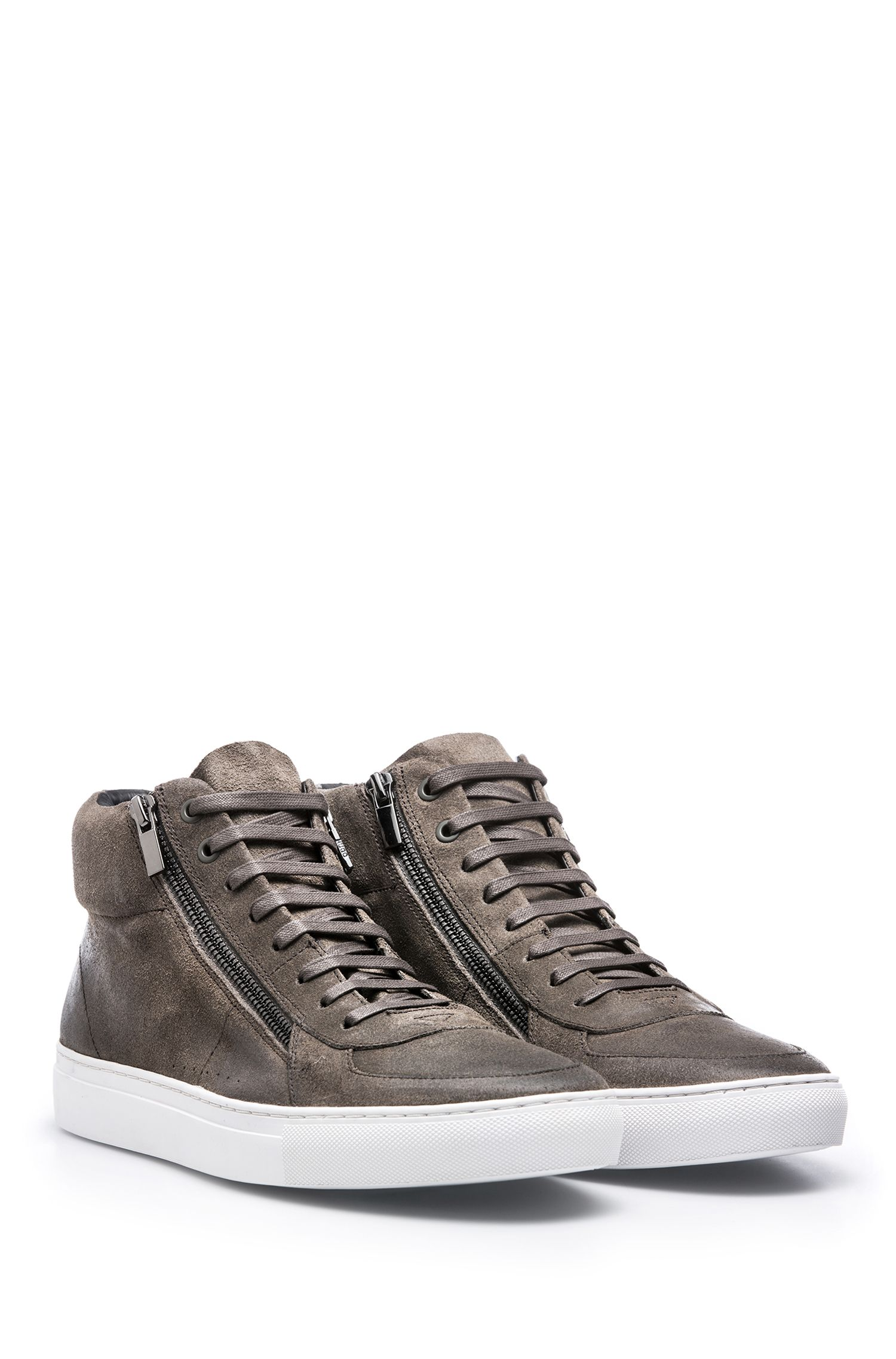 High-top trainers in waxed suede with double zip, Dark Grey