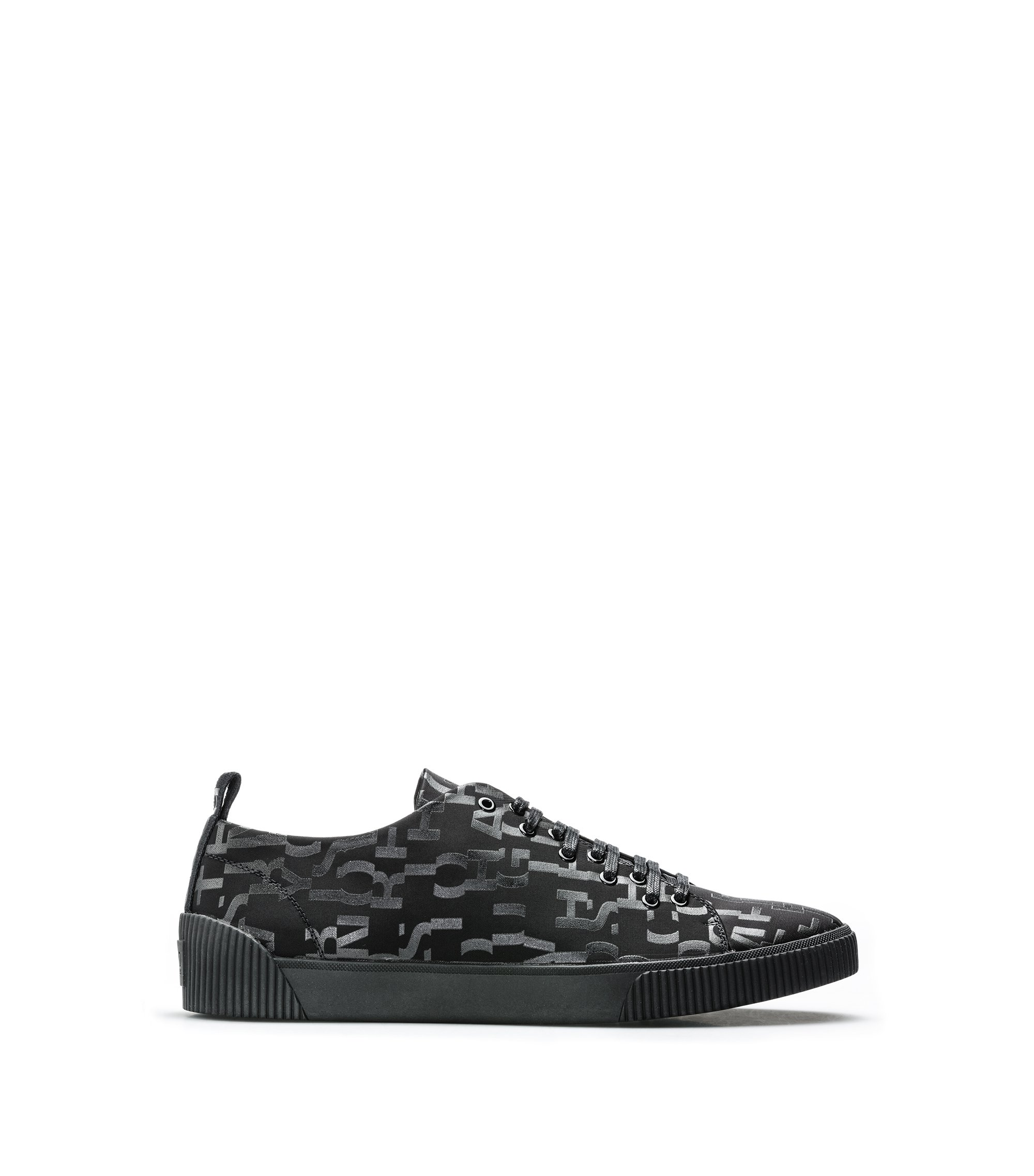 Lace-up trainers with seasonal-print uppers, Black