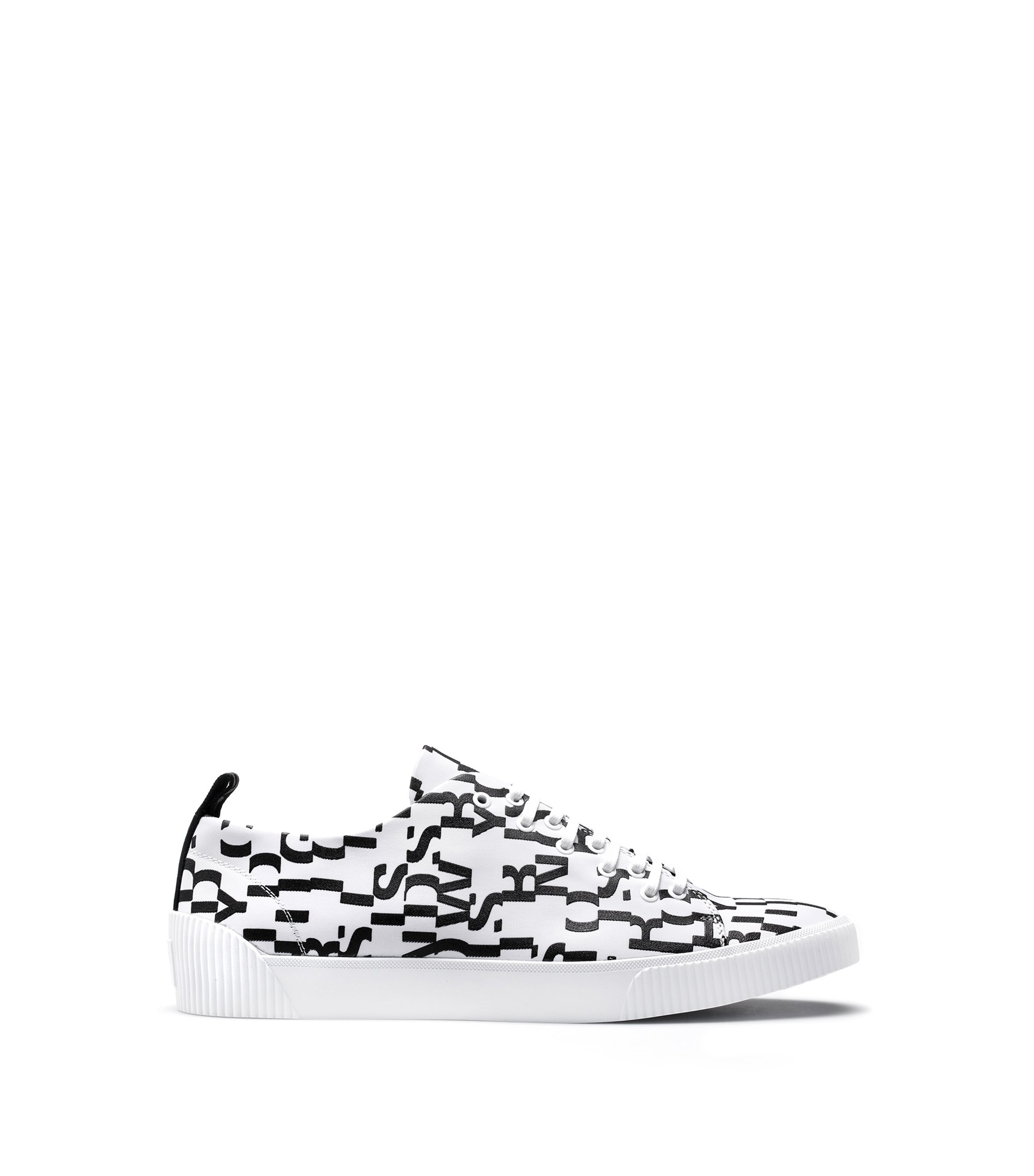 Lace-up trainers with seasonal-print uppers, White