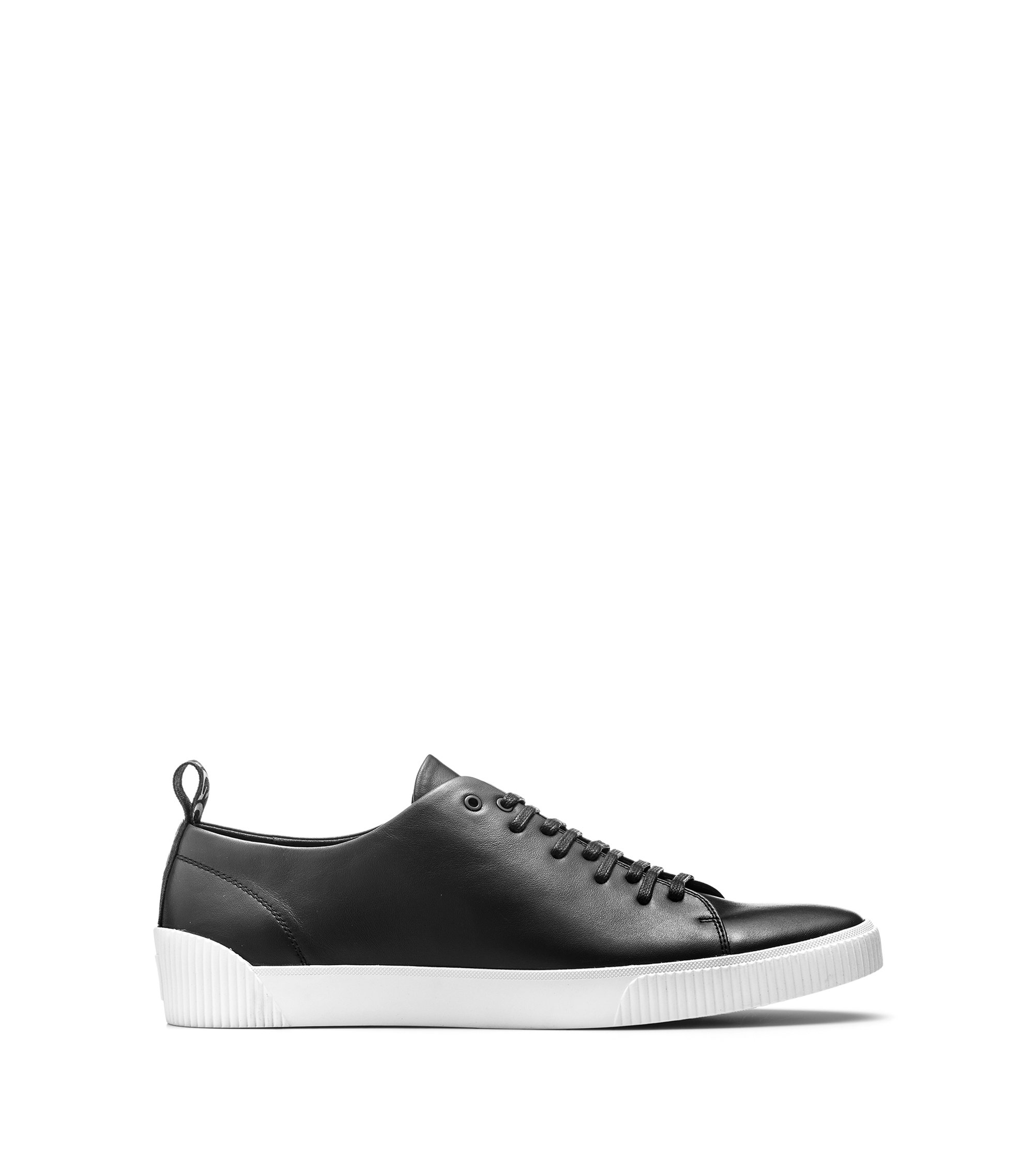 Sneakers low-top in pelle nappa con logo, Nero