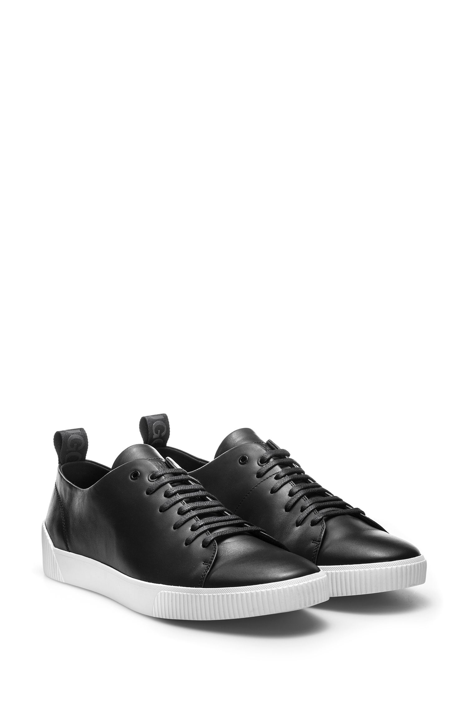 Low-top trainers in nappa leather with logo detail, Black