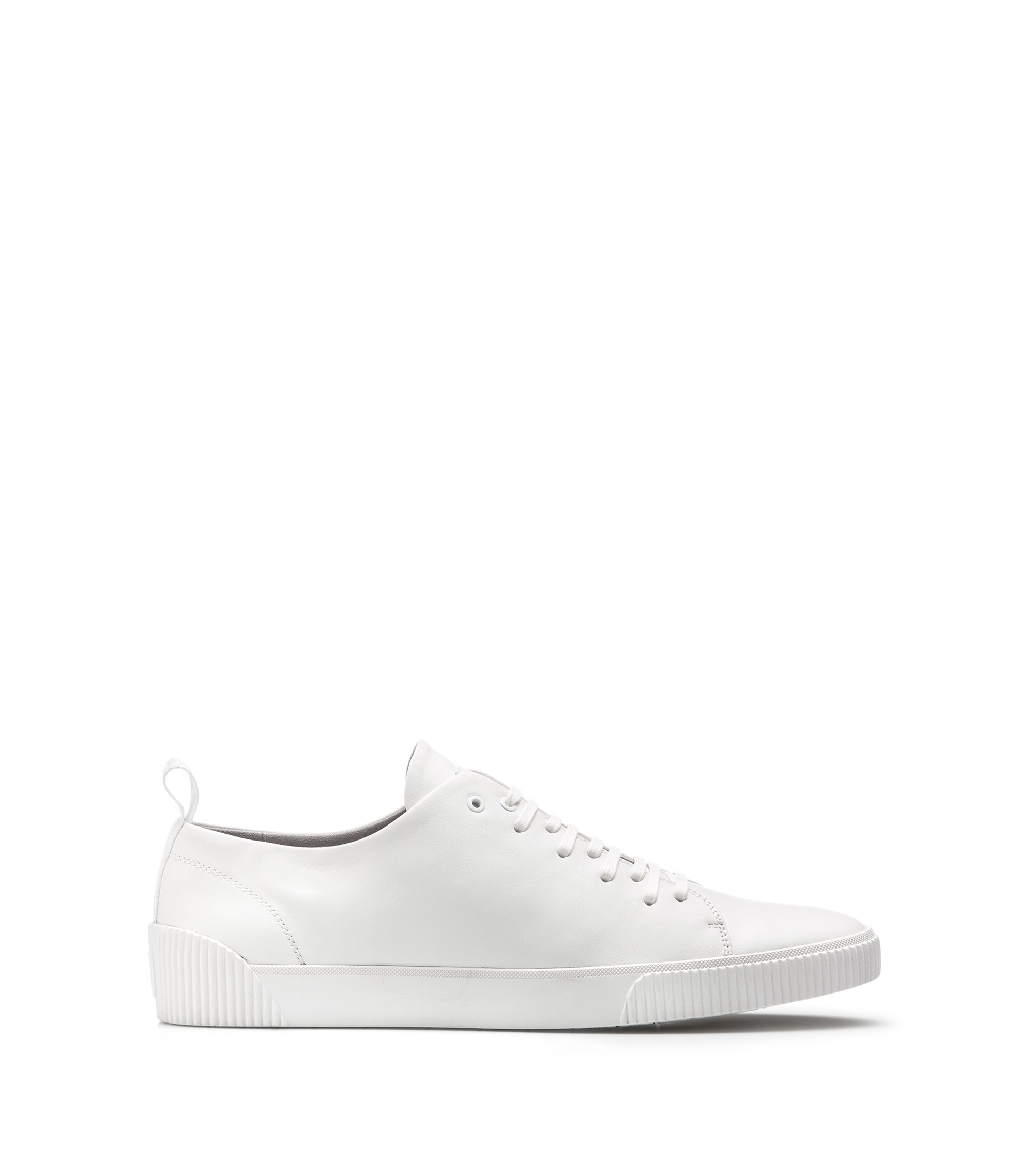 Sneakers low-top in pelle nappa con logo, Bianco