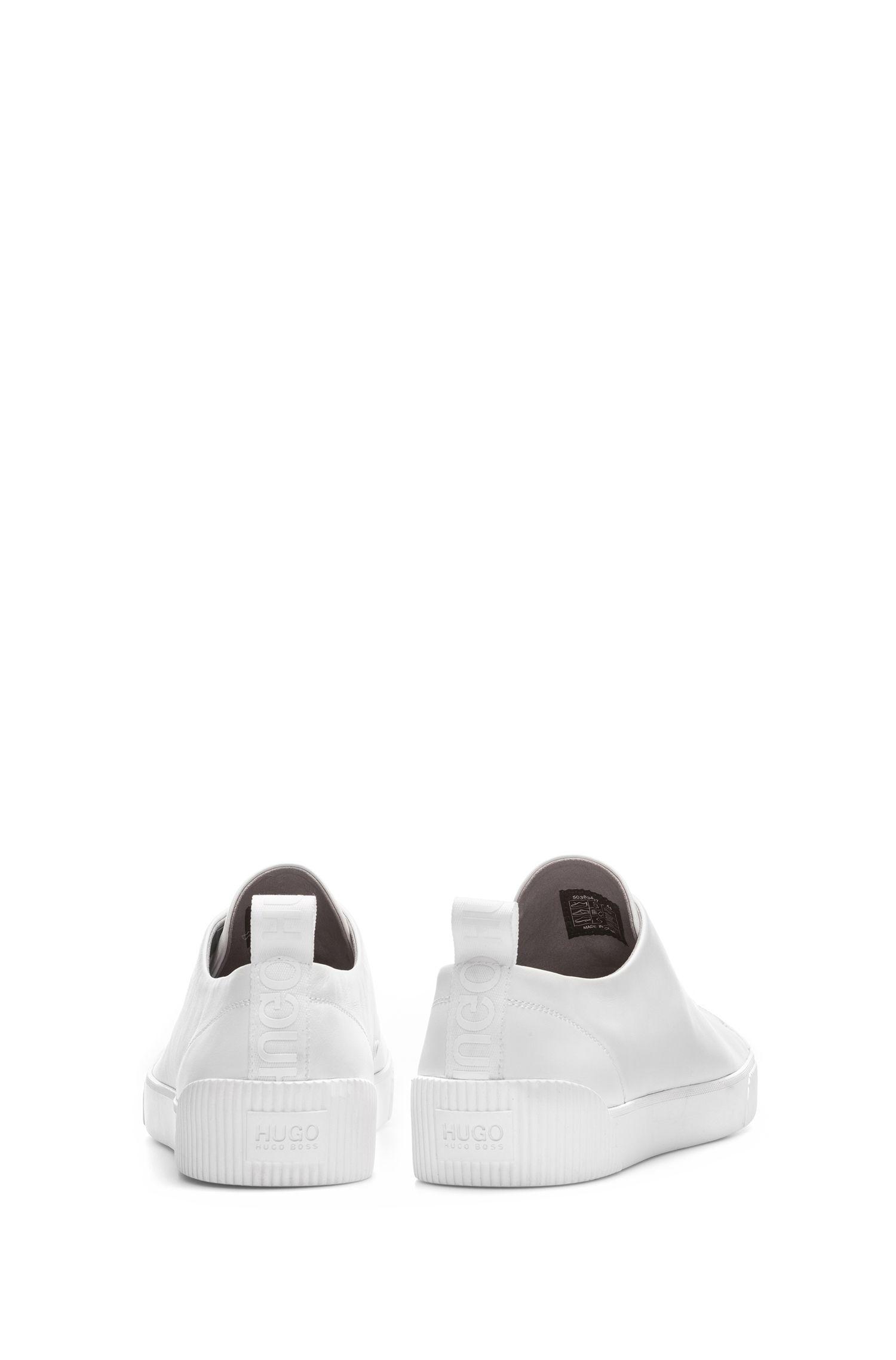 Lage sneakers van nappaleer met logodetails, Wit