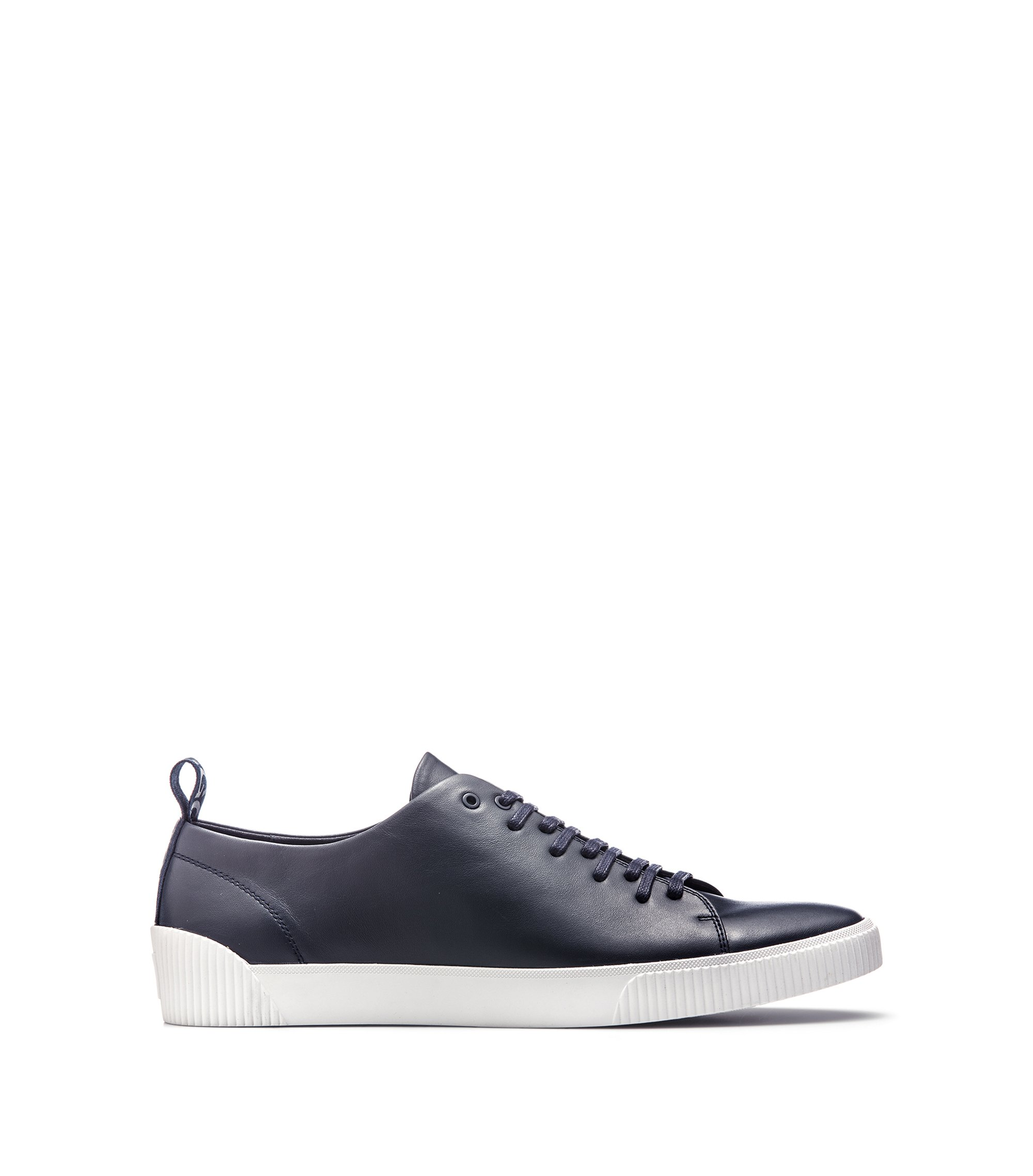 Low-top trainers in nappa leather with logo detail, Dark Blue