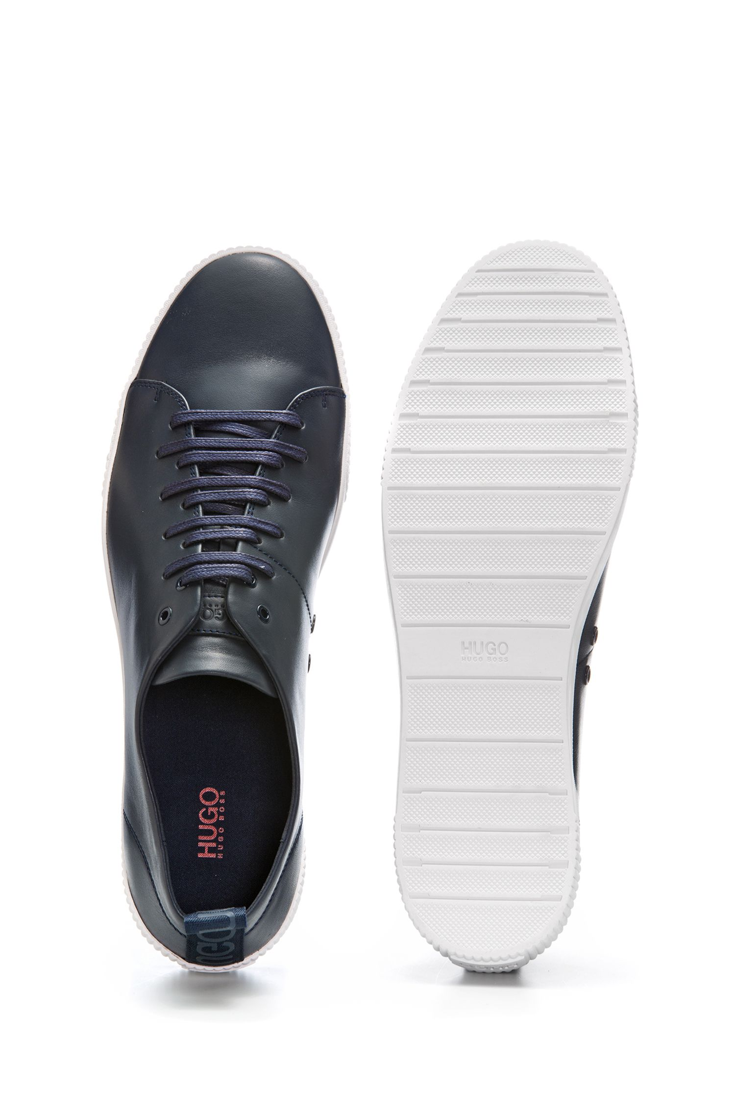 Sneakers low-top in pelle nappa con logo, Blu scuro