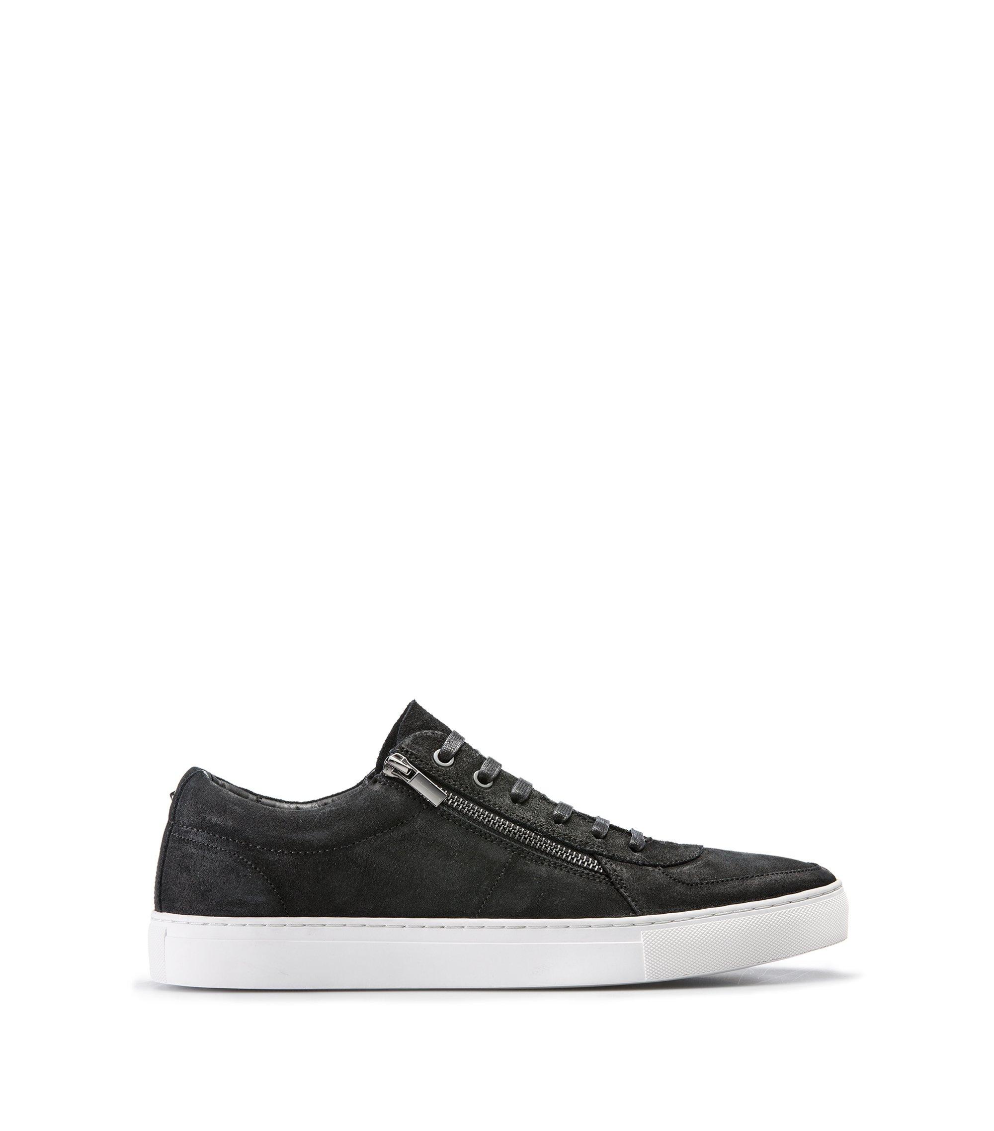 Sneakers aus gewachstem Veloursleder mit doppeltem Reißverschluss, Schwarz