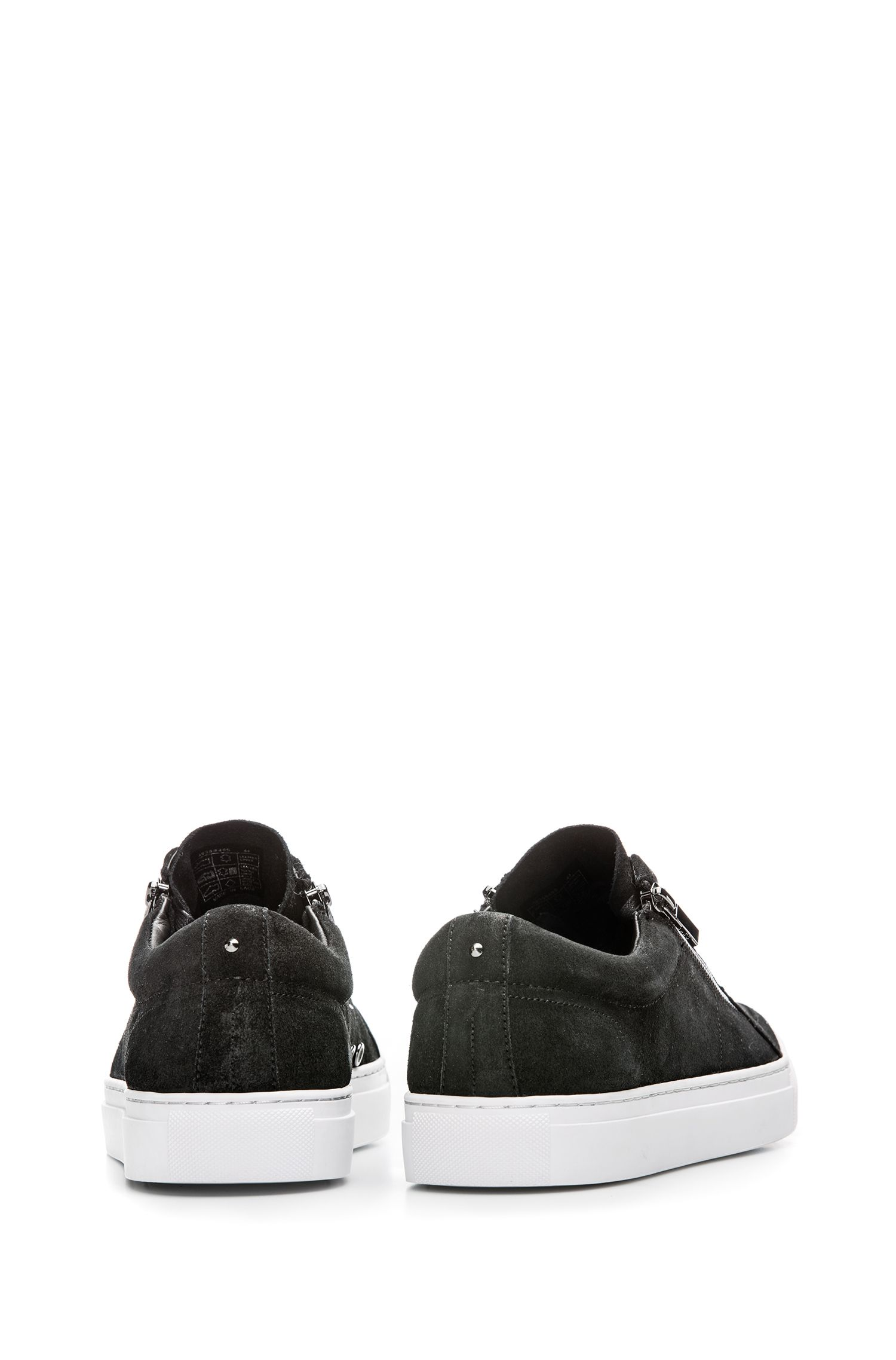 Waxed-suede trainers with double-zip detail, Black