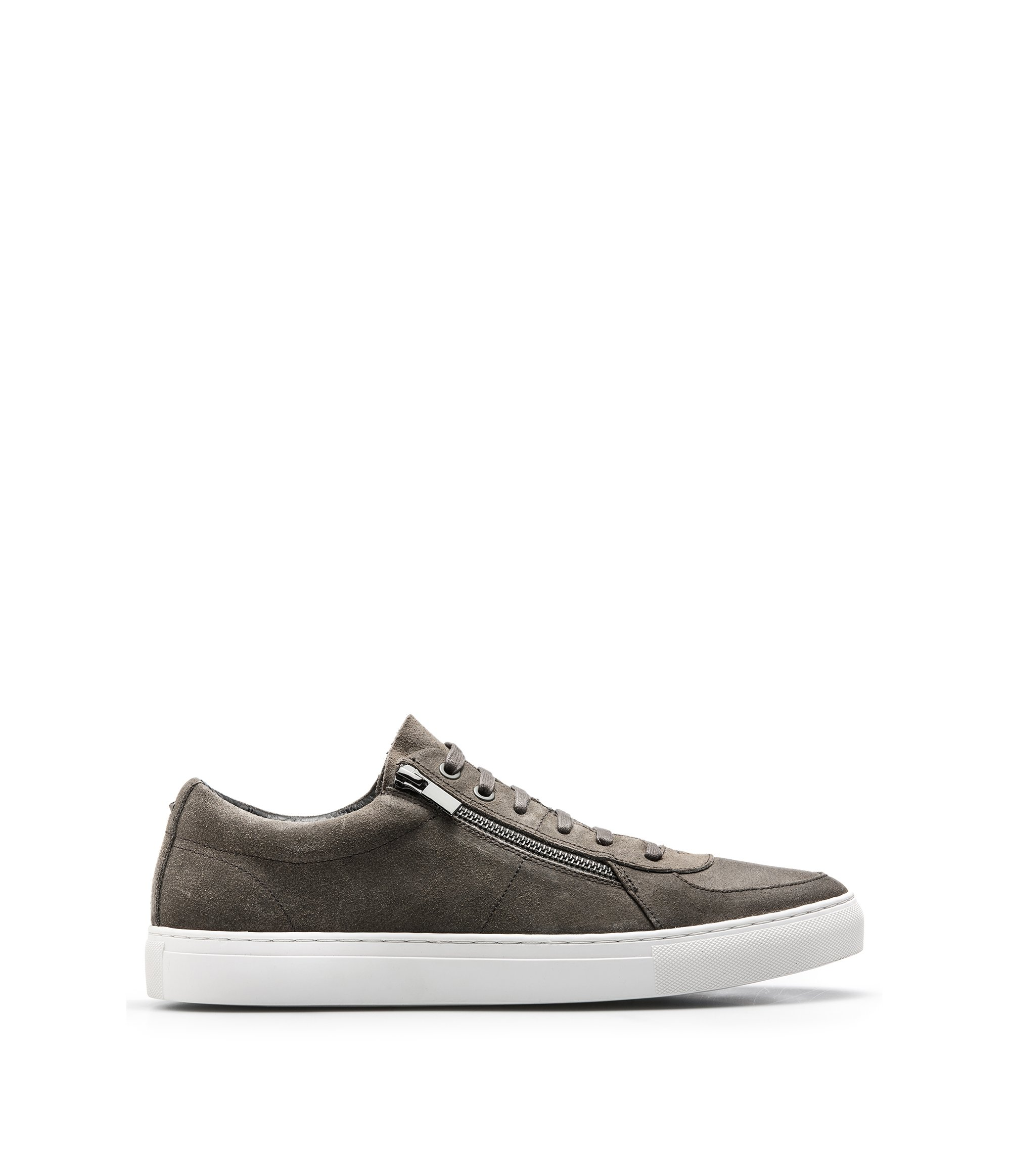 Sneakers aus gewachstem Veloursleder mit doppeltem Reißverschluss, Dunkelgrau