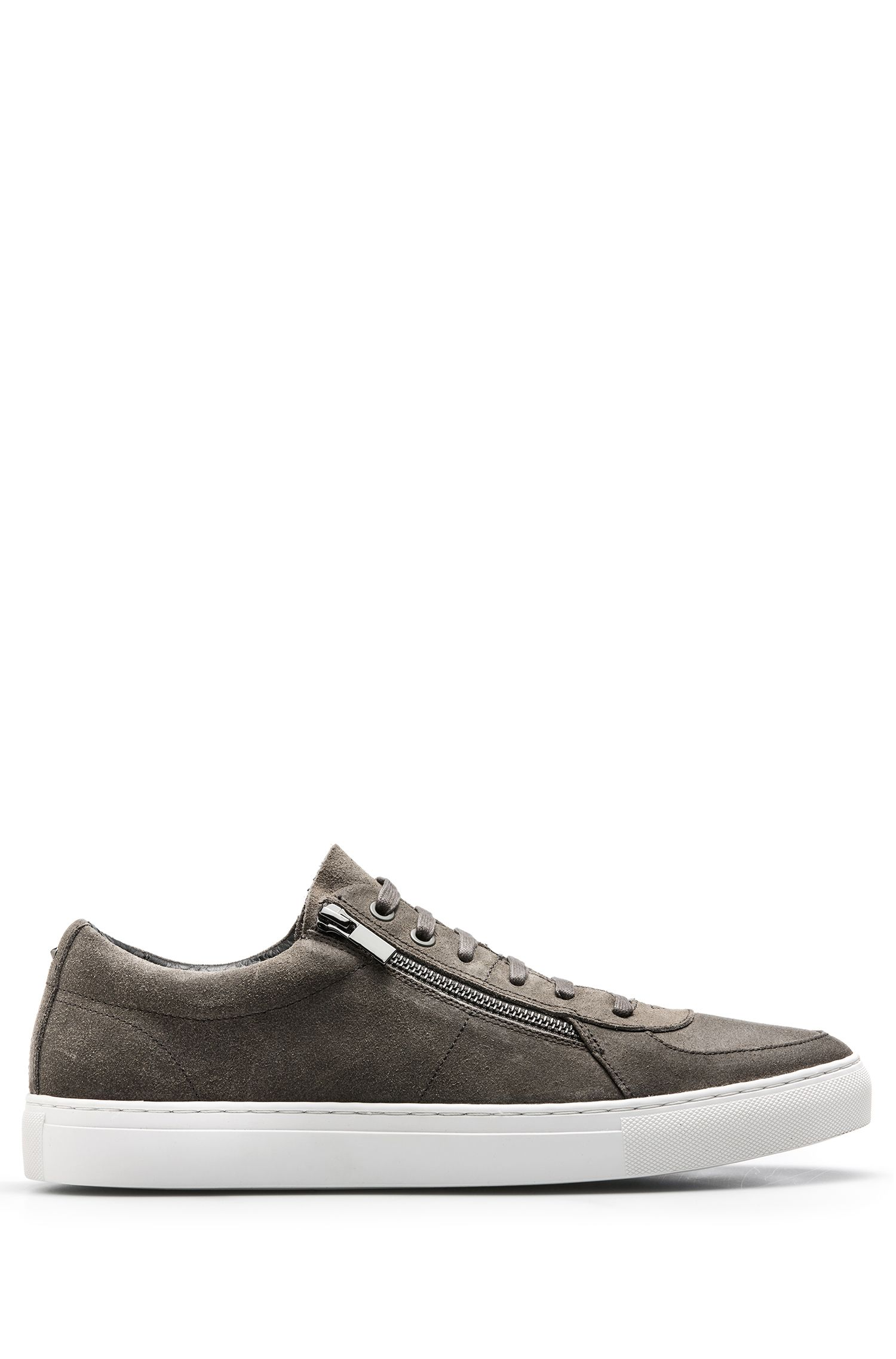 Waxed-suede trainers with double-zip detail, Dark Grey