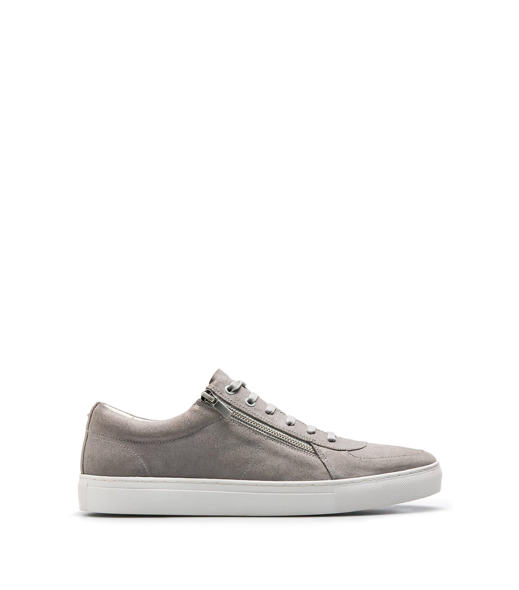 Sneakers aus gewachstem Veloursleder mit doppeltem Reißverschluss, Hellgrau