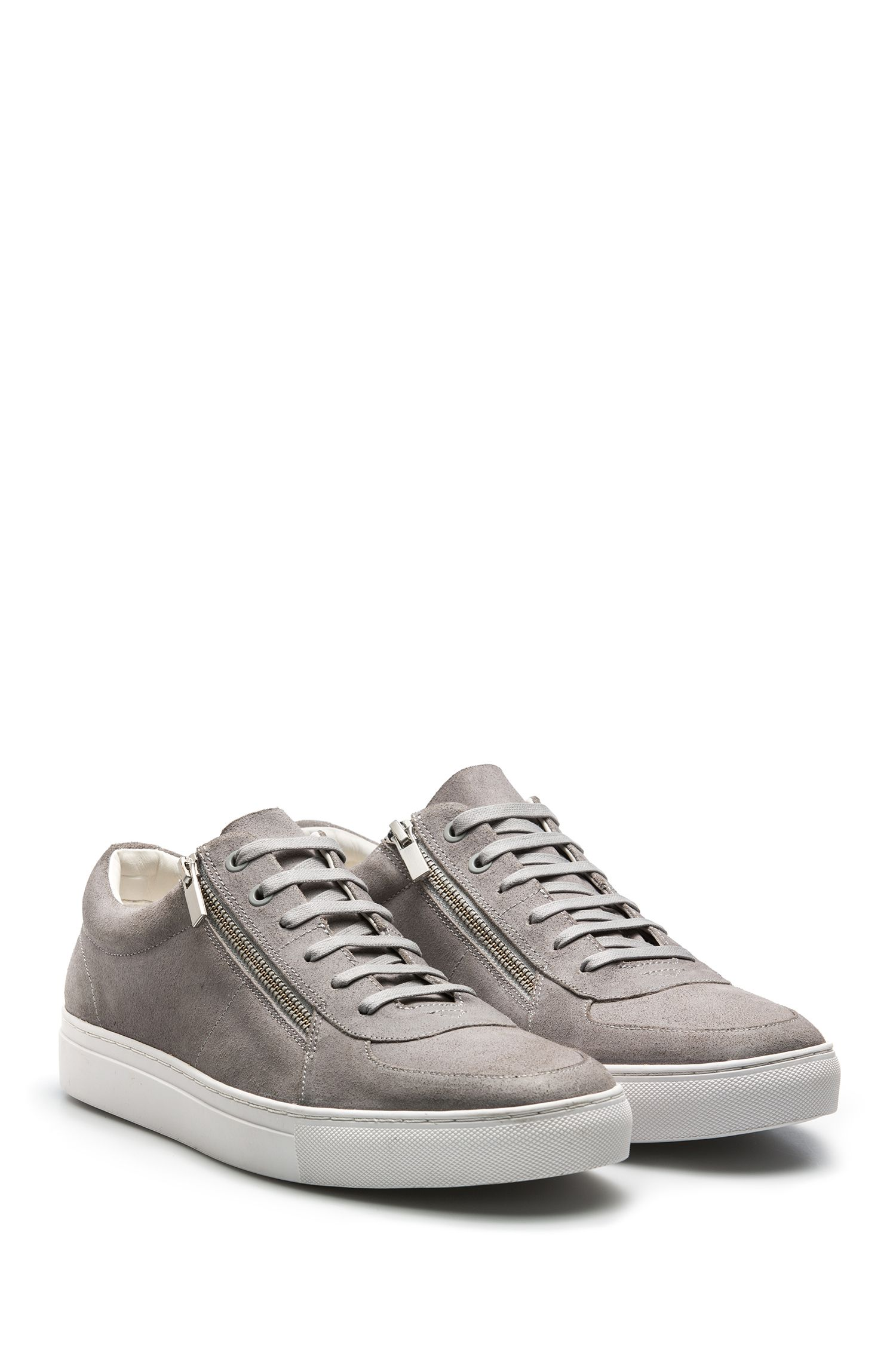Waxed-suede trainers with double-zip detail, Light Grey