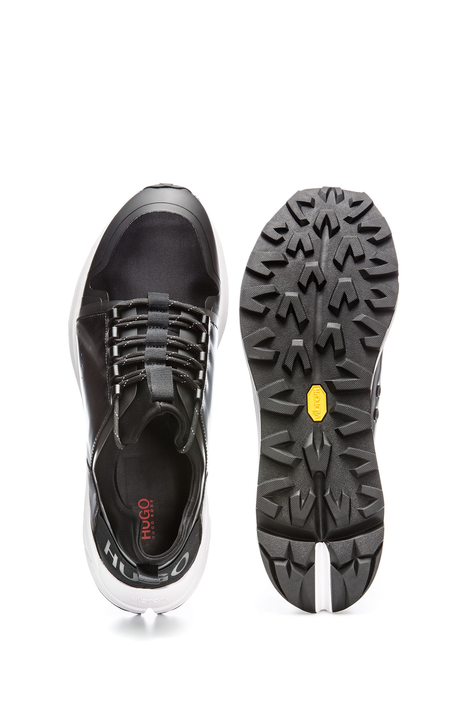 Mixed-material trainers with Vibram sole, Black