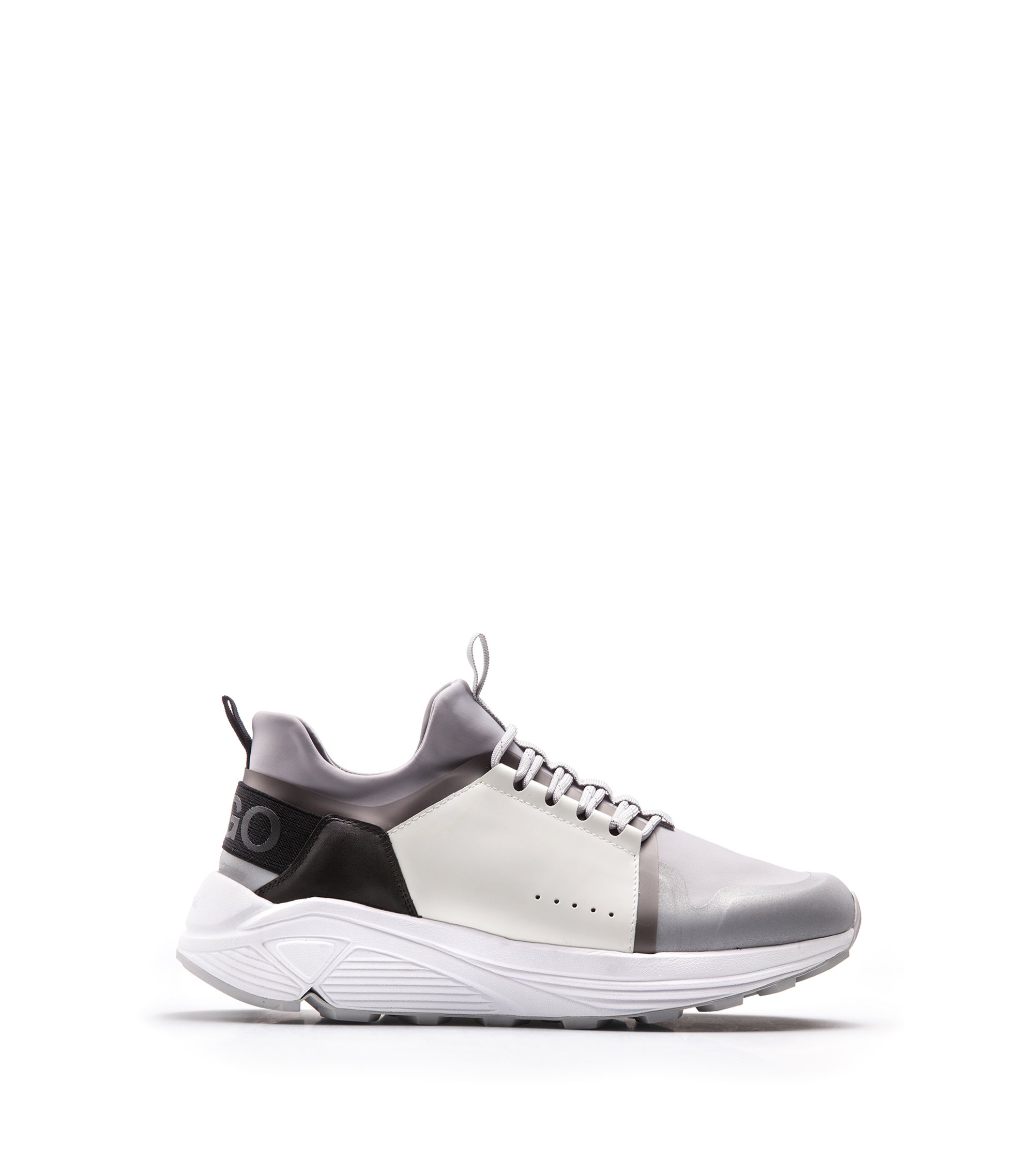 Mixed-material trainers with Vibram sole, Silver
