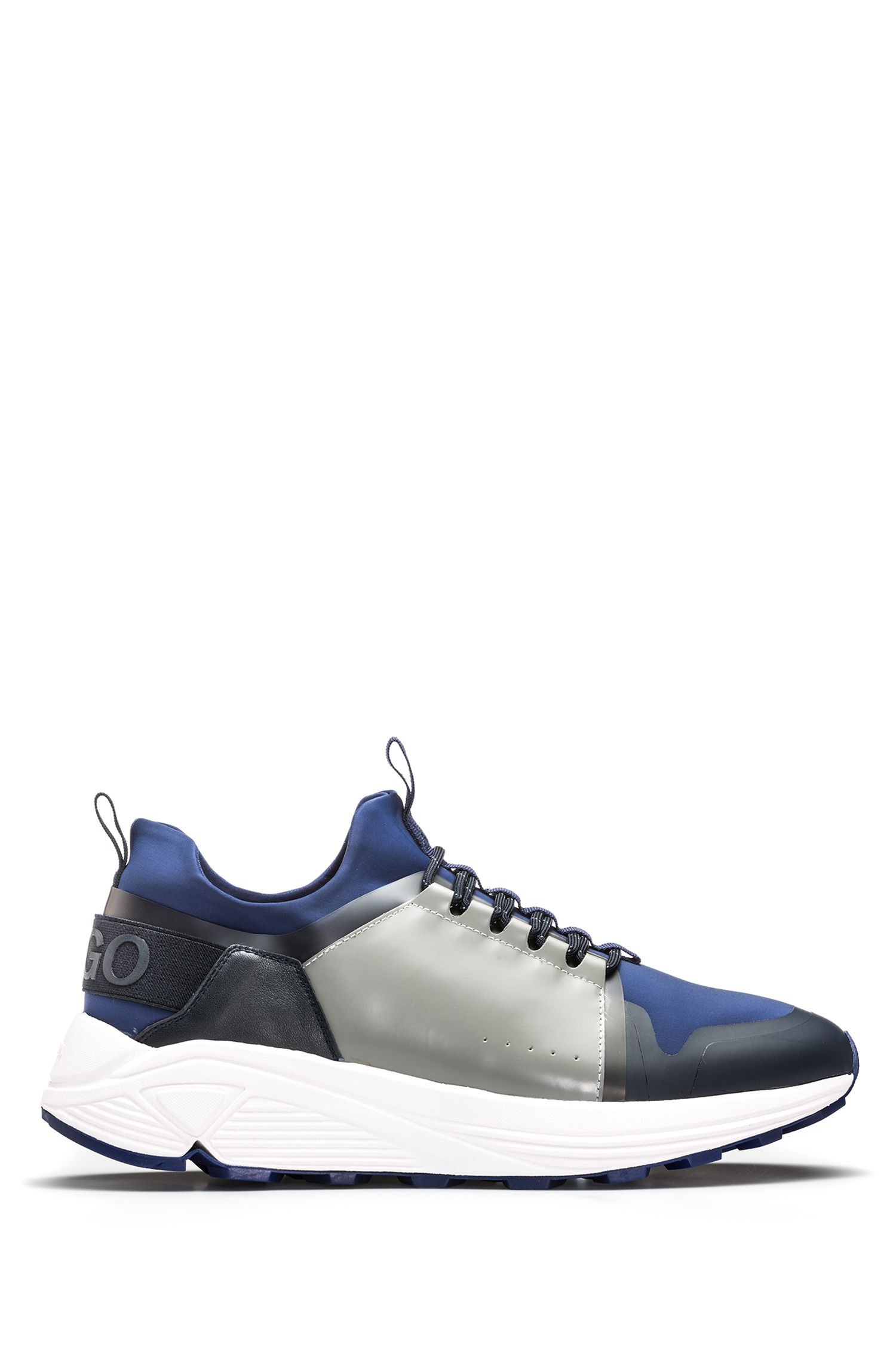 Mixed-material trainers with Vibram sole, Blue