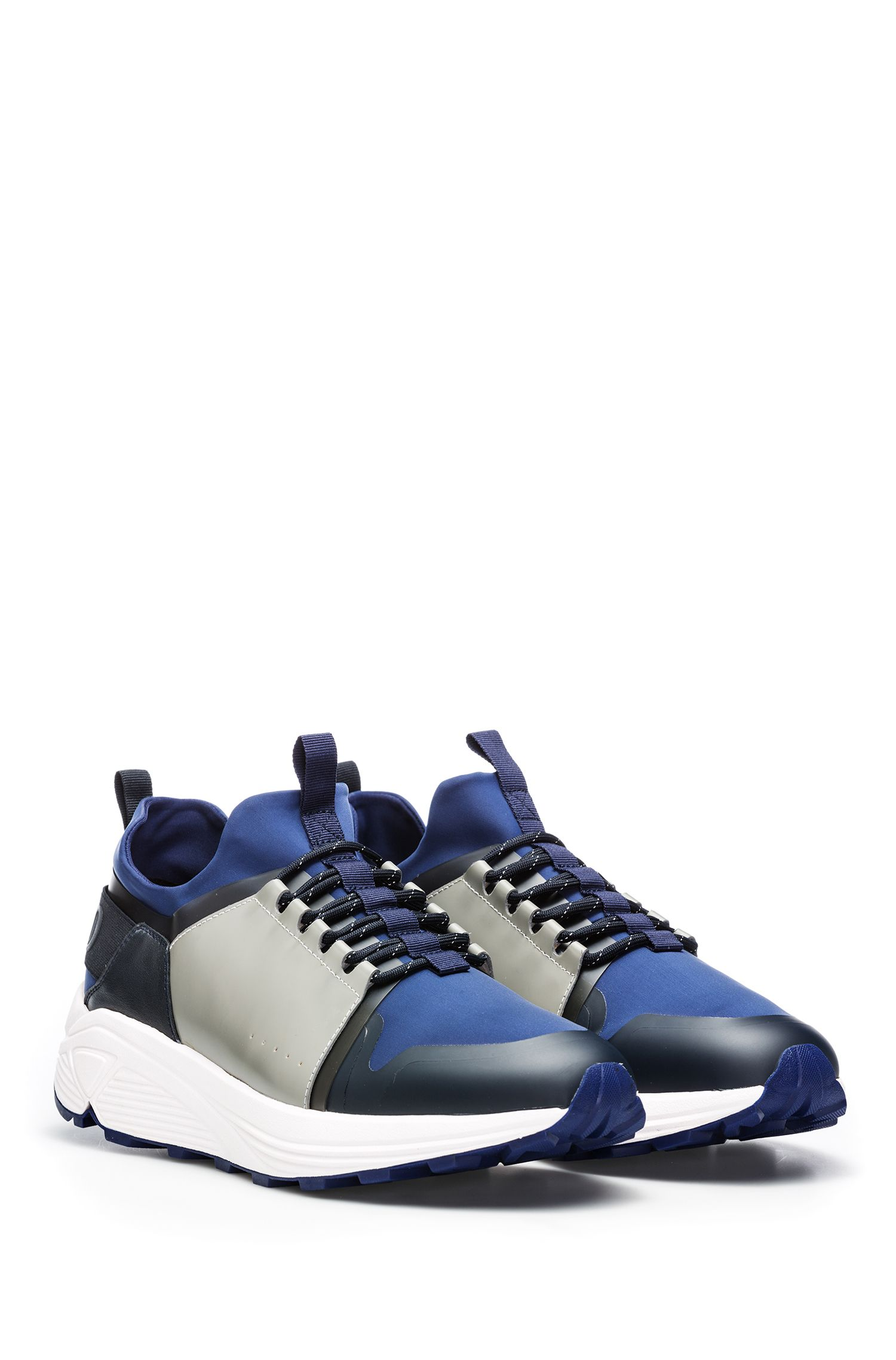 Sneakers in materiali misti con suola Vibram, Blu