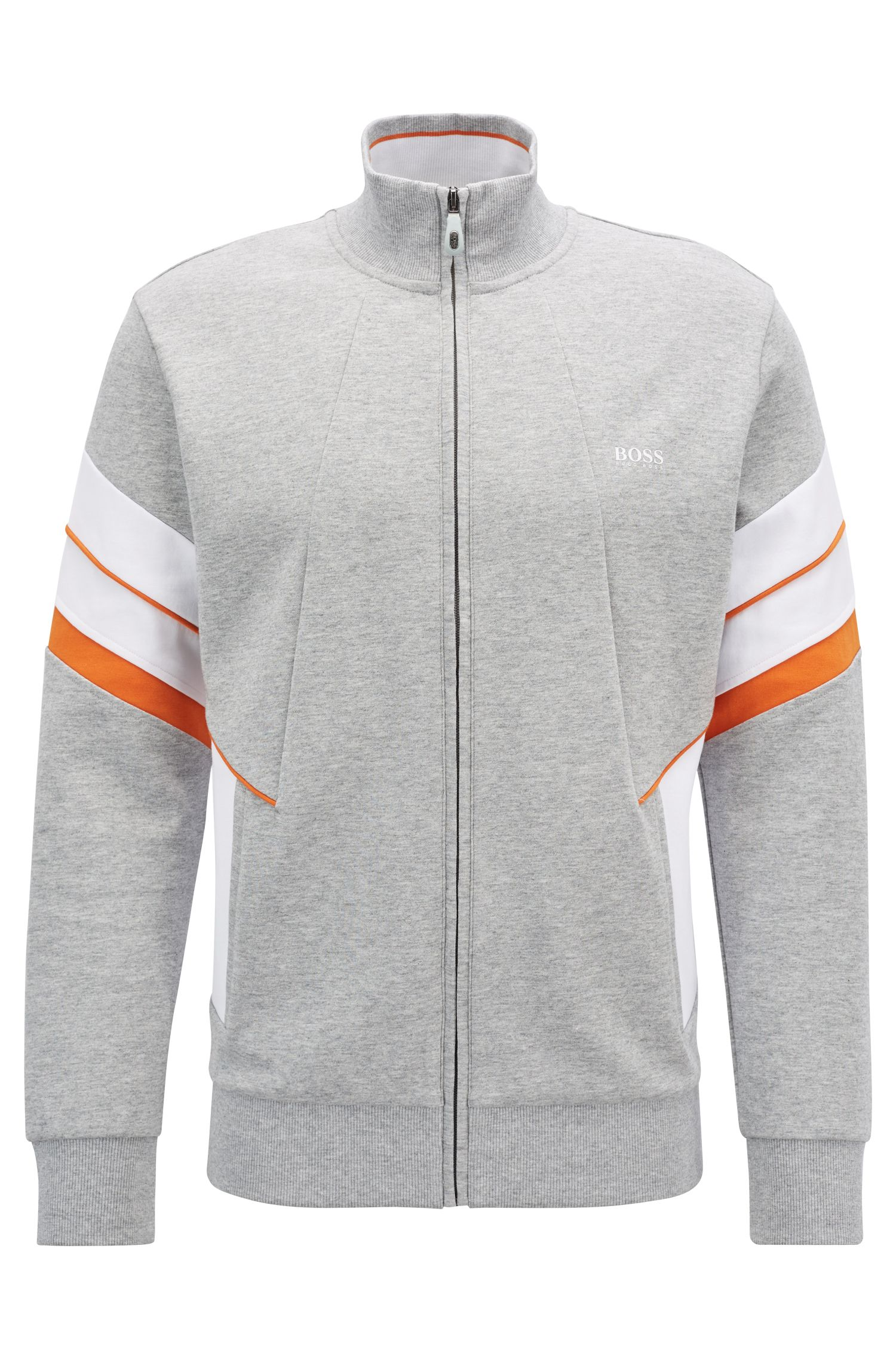 Zip-through sweatshirt with colour-blocking, Light Grey