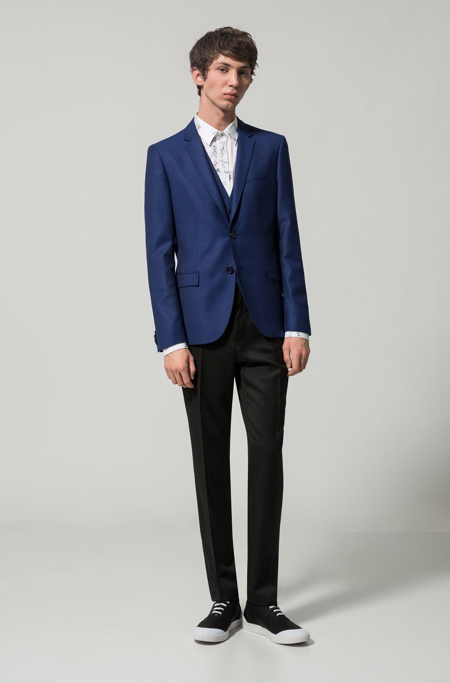 Slim-fit virgin-wool waistcoat with two-tone basket weave