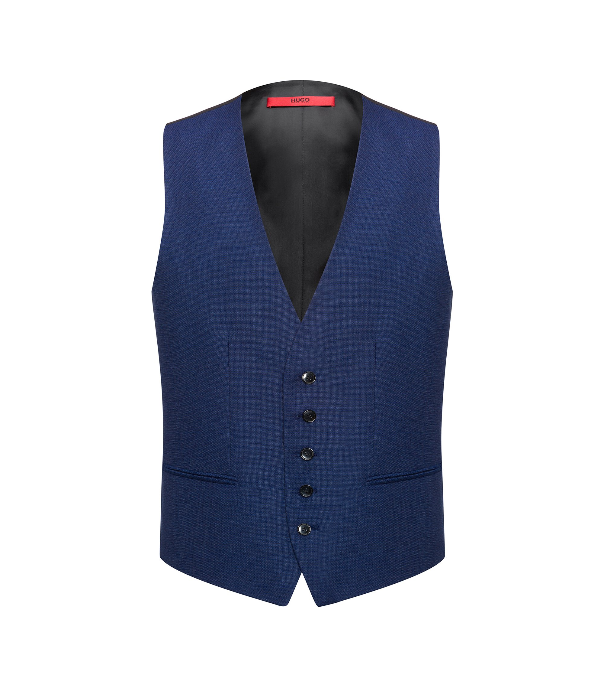Slim-fit virgin-wool waistcoat with two-tone basket weave , Blue
