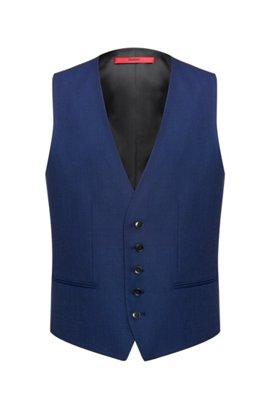Slim-fit virgin-wool waistcoat with two-tone basket weave , Blue
