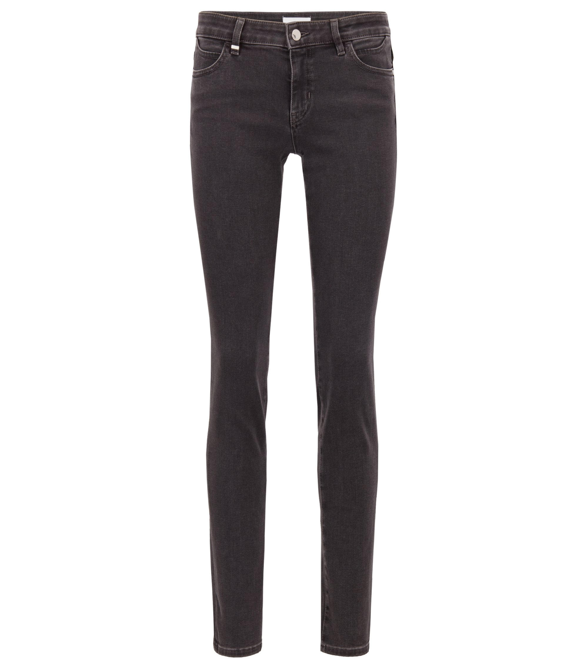 Regular-fit jeans in super-stretch black denim, Dark Grey