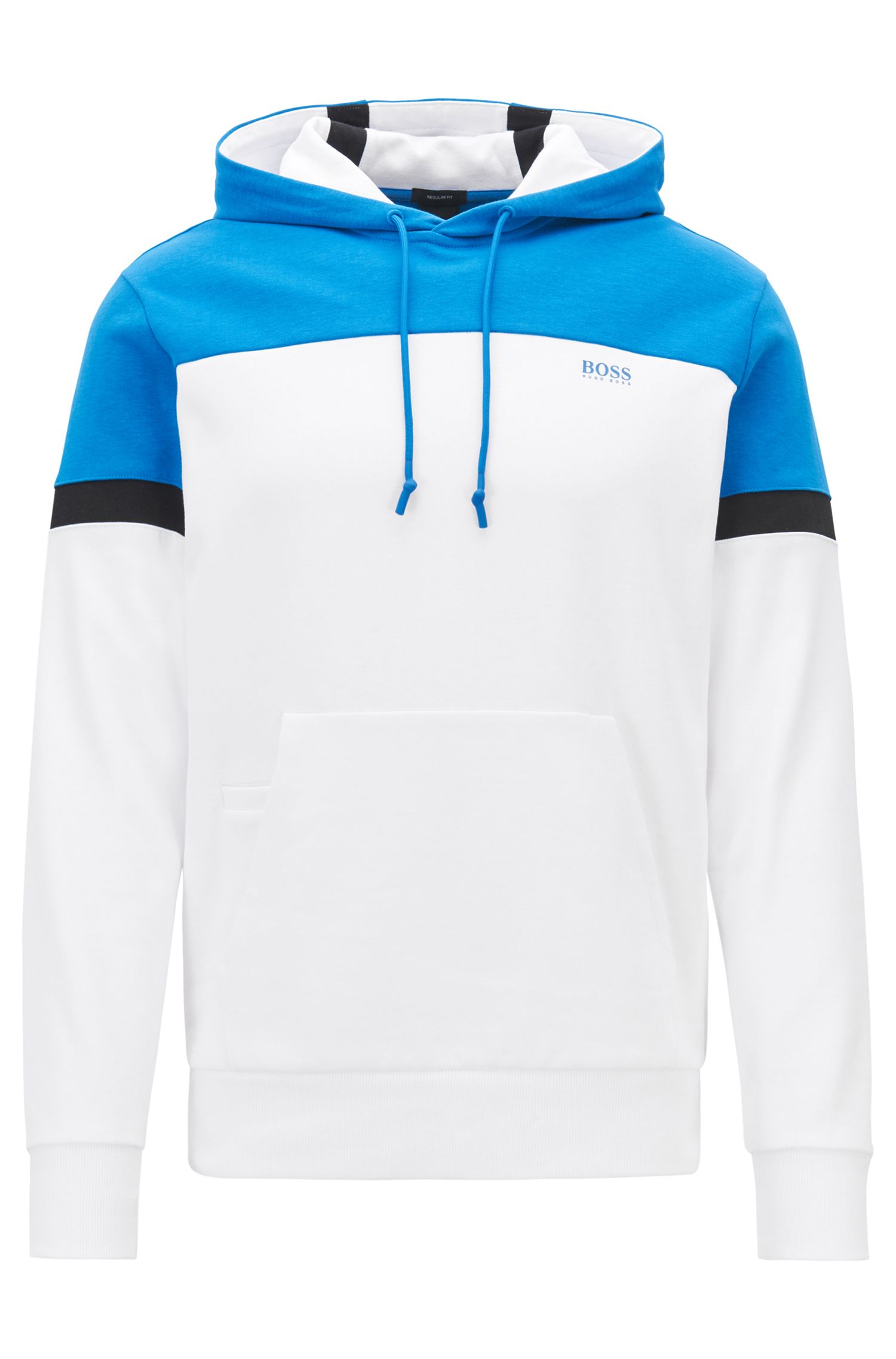 Colour-block hoodie in a double-faced cotton blend, White