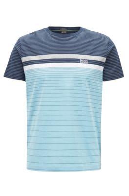 T-shirt a righe policrome in cotone mercerizzato, Blu scuro