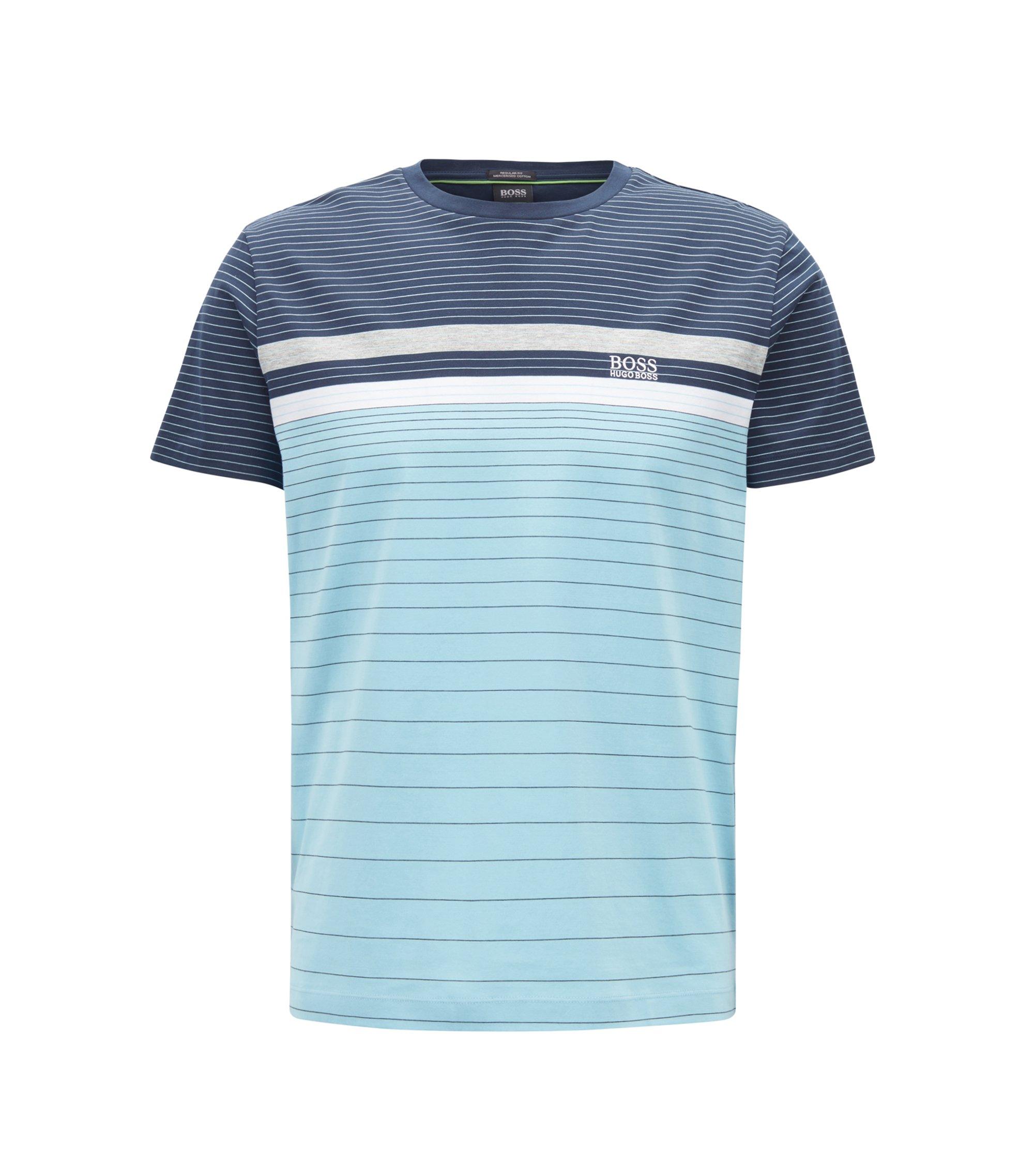 Mehrfarbiges, gestreiftes T-Shirt aus merzerisierter Baumwolle, Dunkelblau