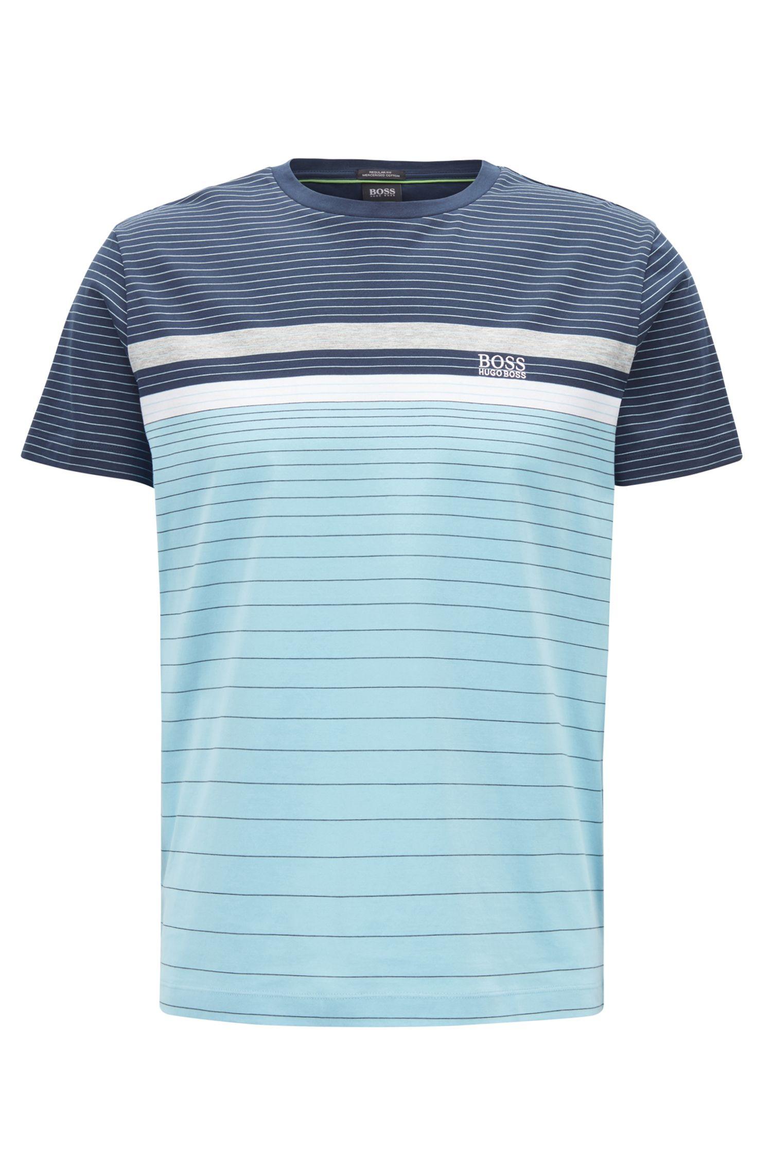Mehrfarbiges, gestreiftes T-Shirt aus merzerisierter Baumwolle