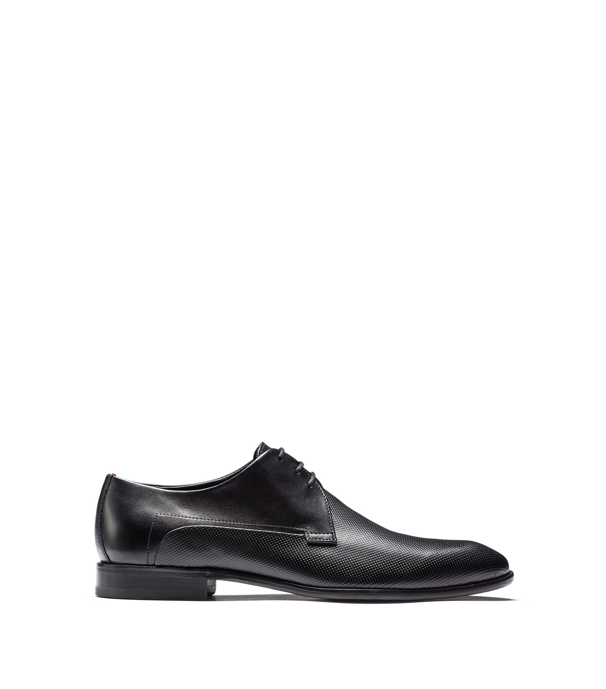 Derby shoes in printed calf leather, Black